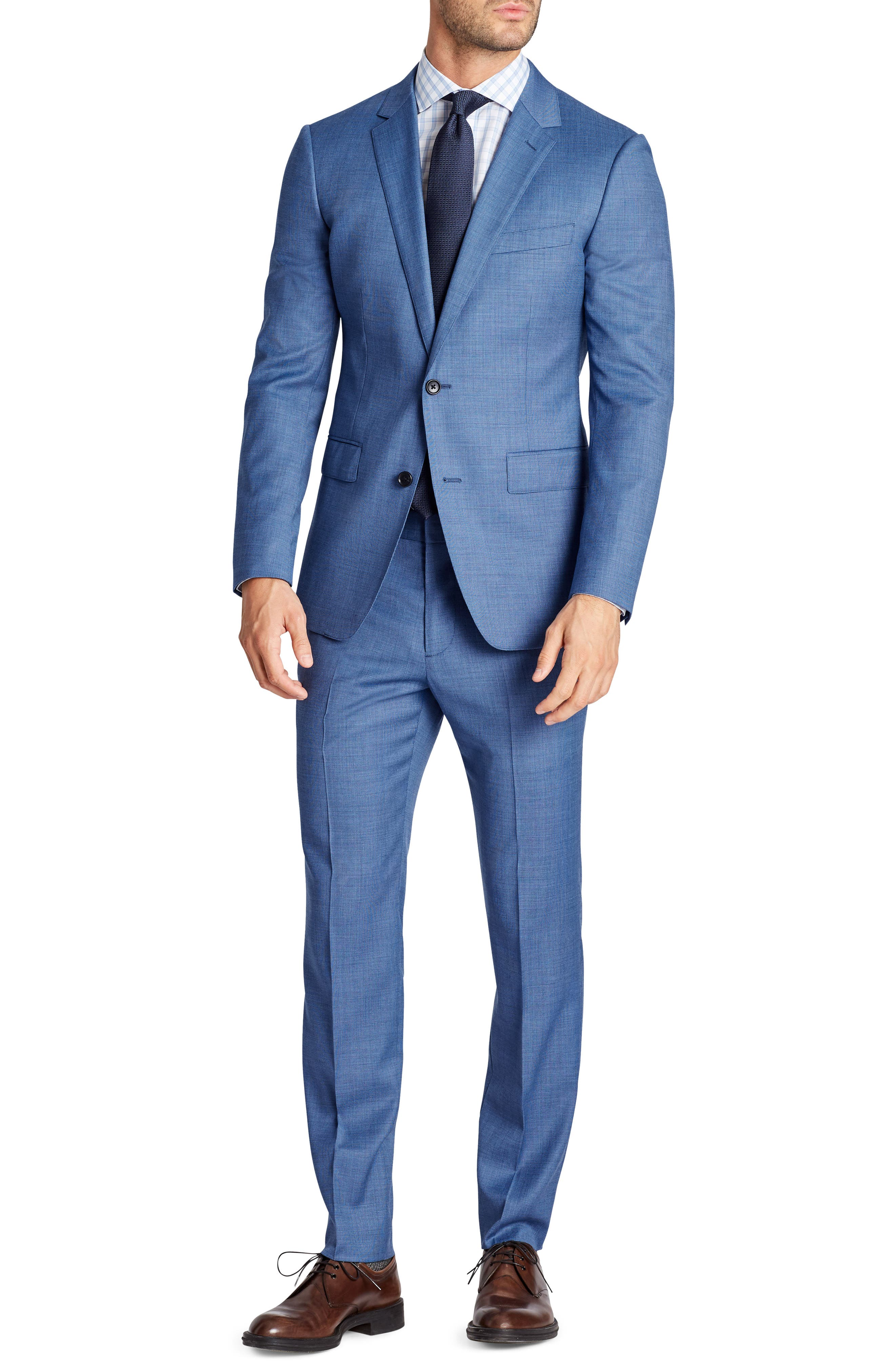 Jetsetter Flat Front Solid Stretch Wool Trousers,                             Alternate thumbnail 4, color,                             Brighter Blue