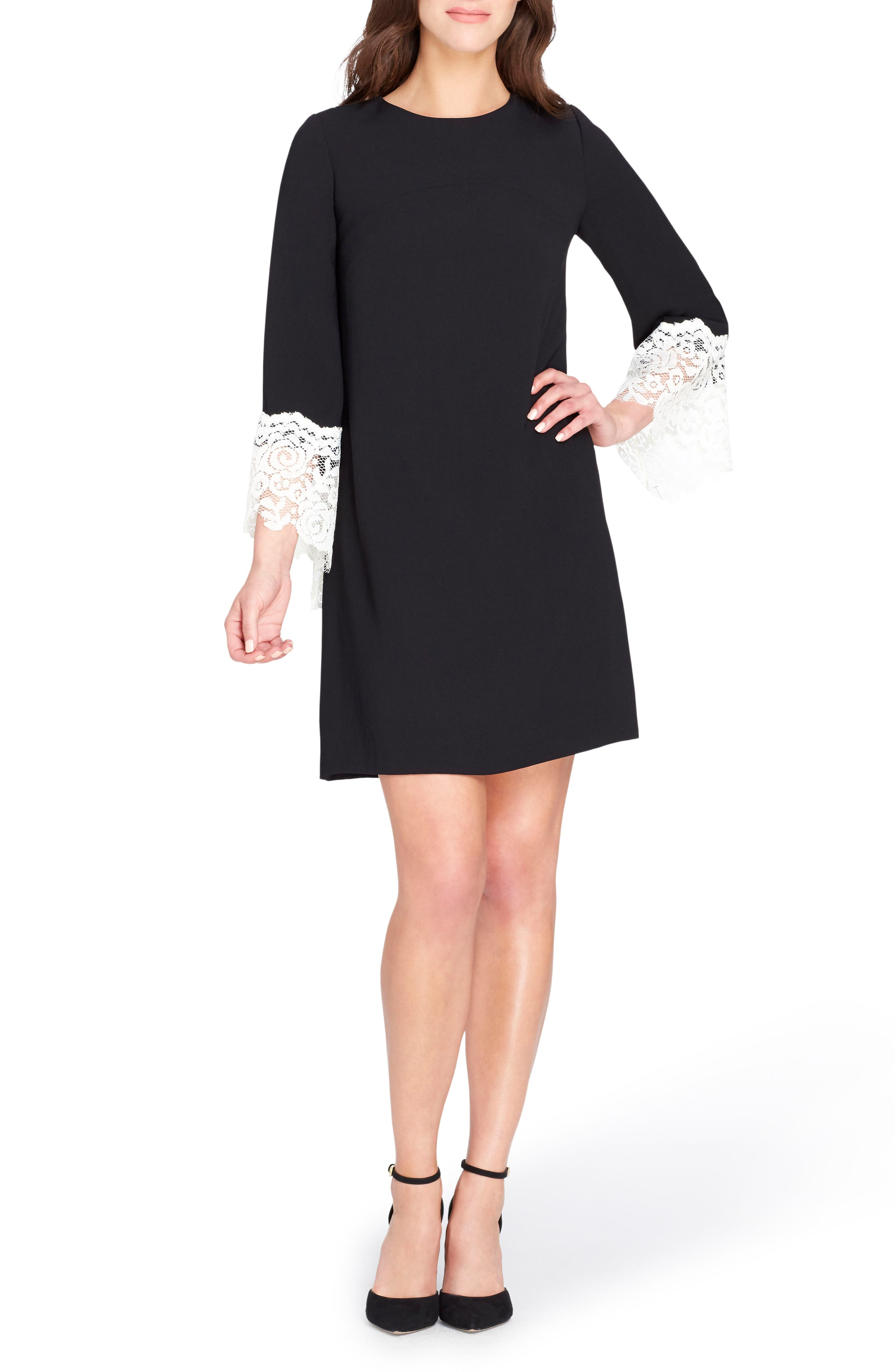 Lace Cuff Shift Dress,                             Main thumbnail 1, color,                             Black/ Ivory
