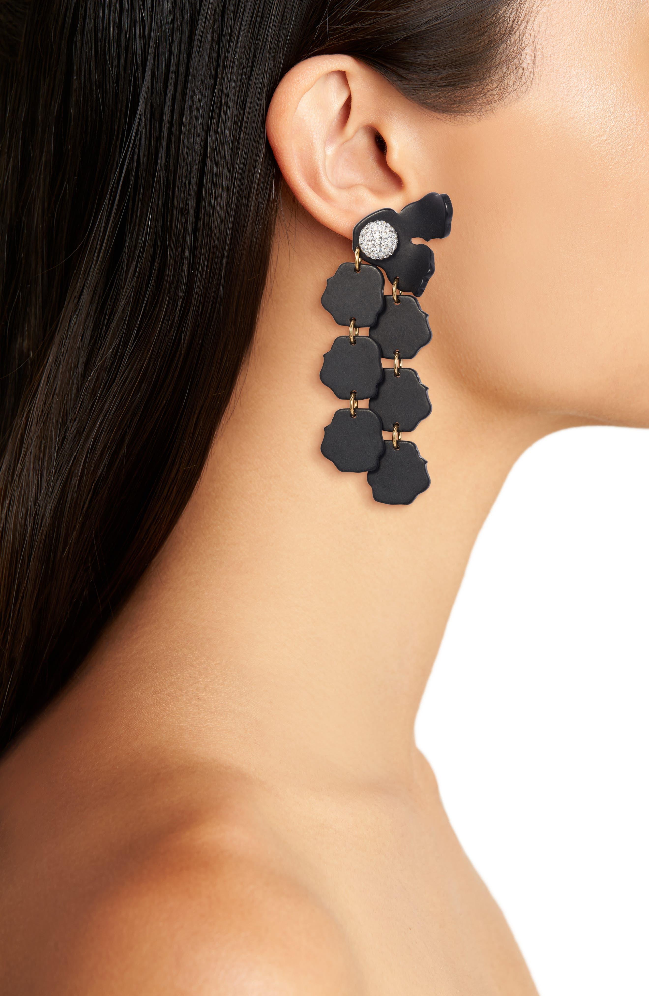 Confetti Petal Drop Earrings,                             Alternate thumbnail 2, color,                             Black