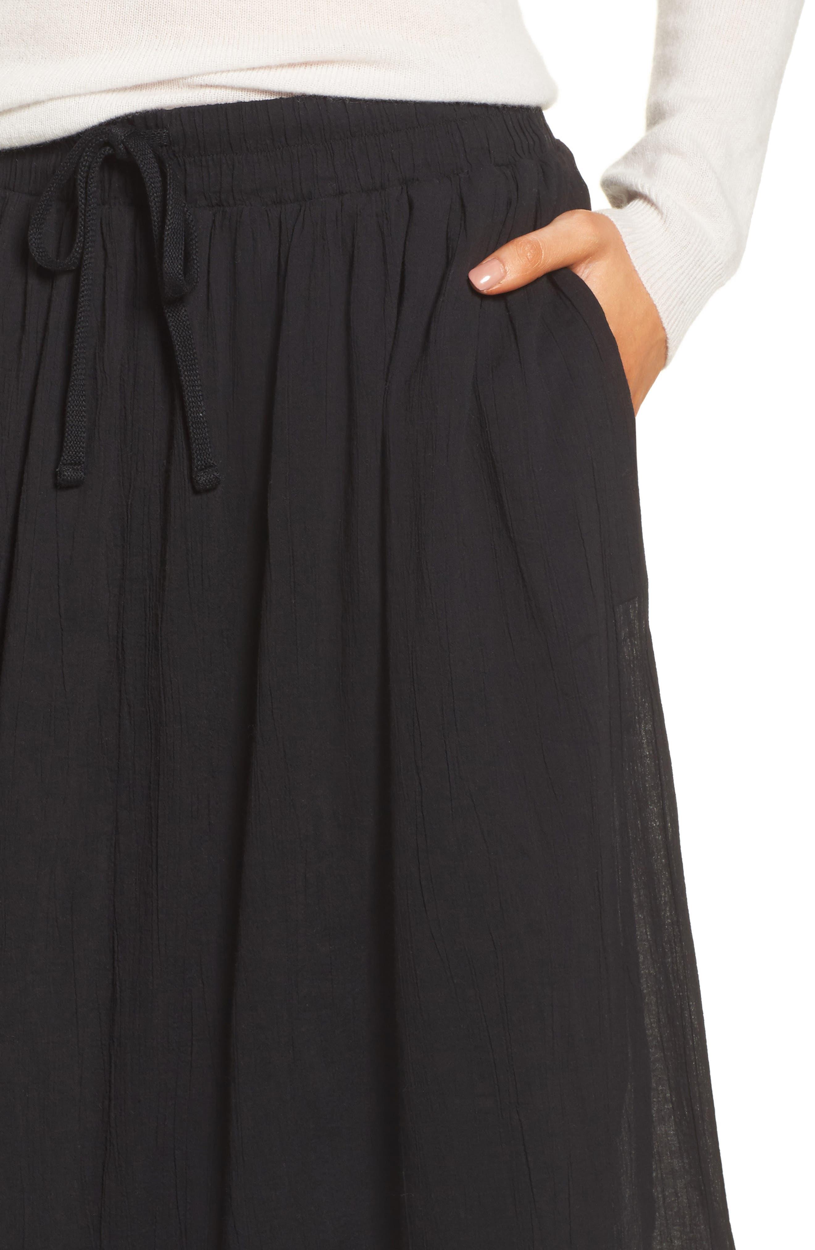 Gauze Midi Skirt,                             Alternate thumbnail 4, color,                             Black