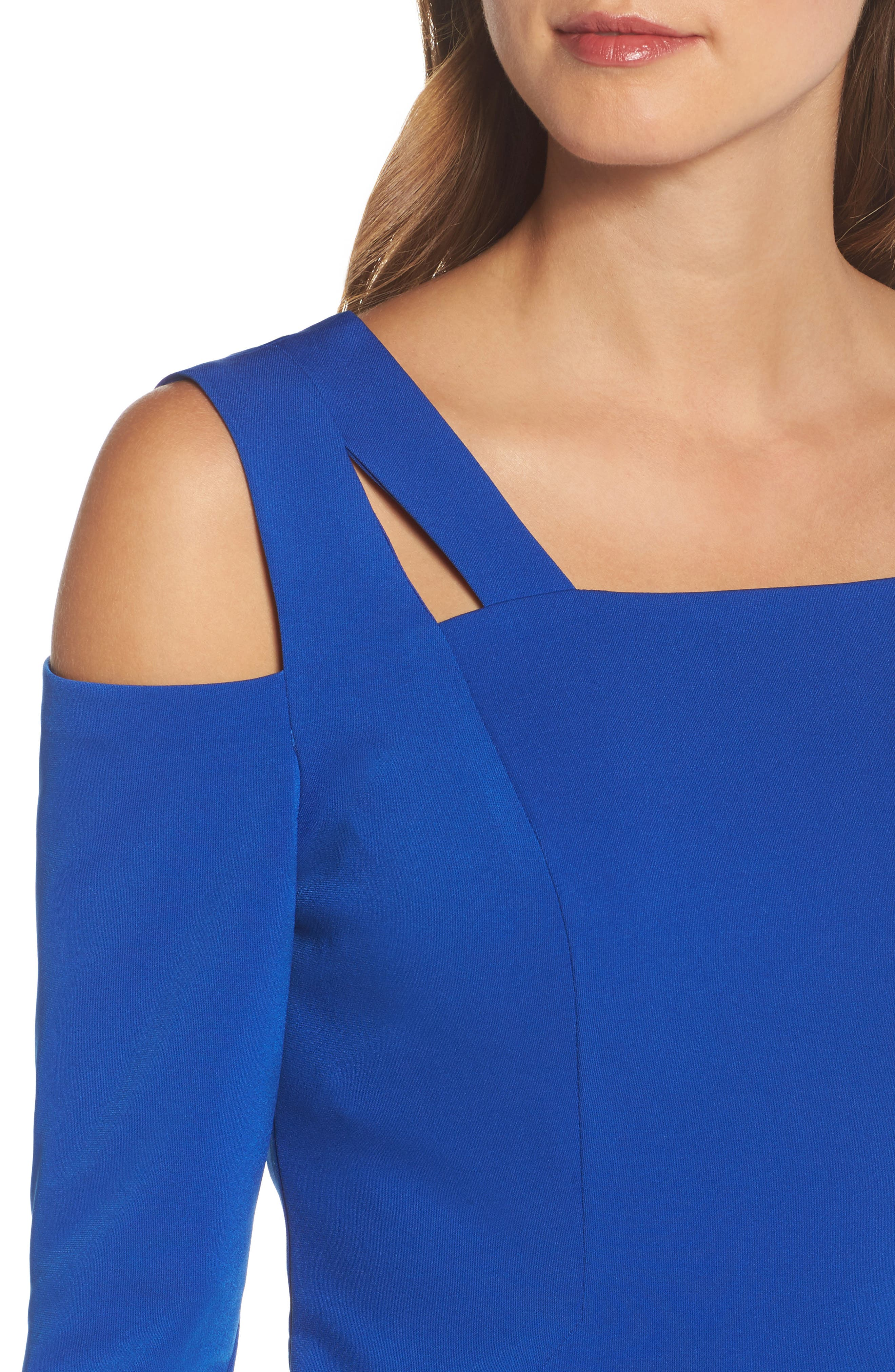 Cold Shoulder Sheath Dress,                             Alternate thumbnail 4, color,                             Cobalt