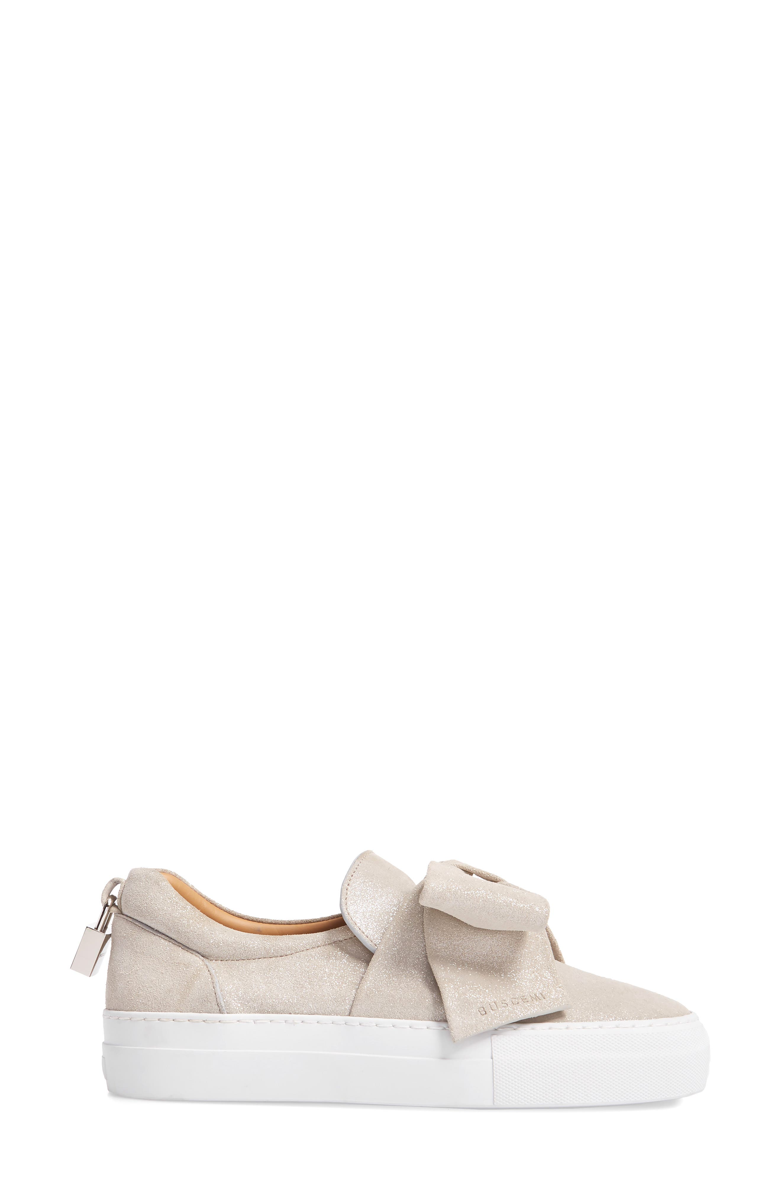 Bow Slip-On Sneaker,                             Alternate thumbnail 3, color,                             Gleam Grey