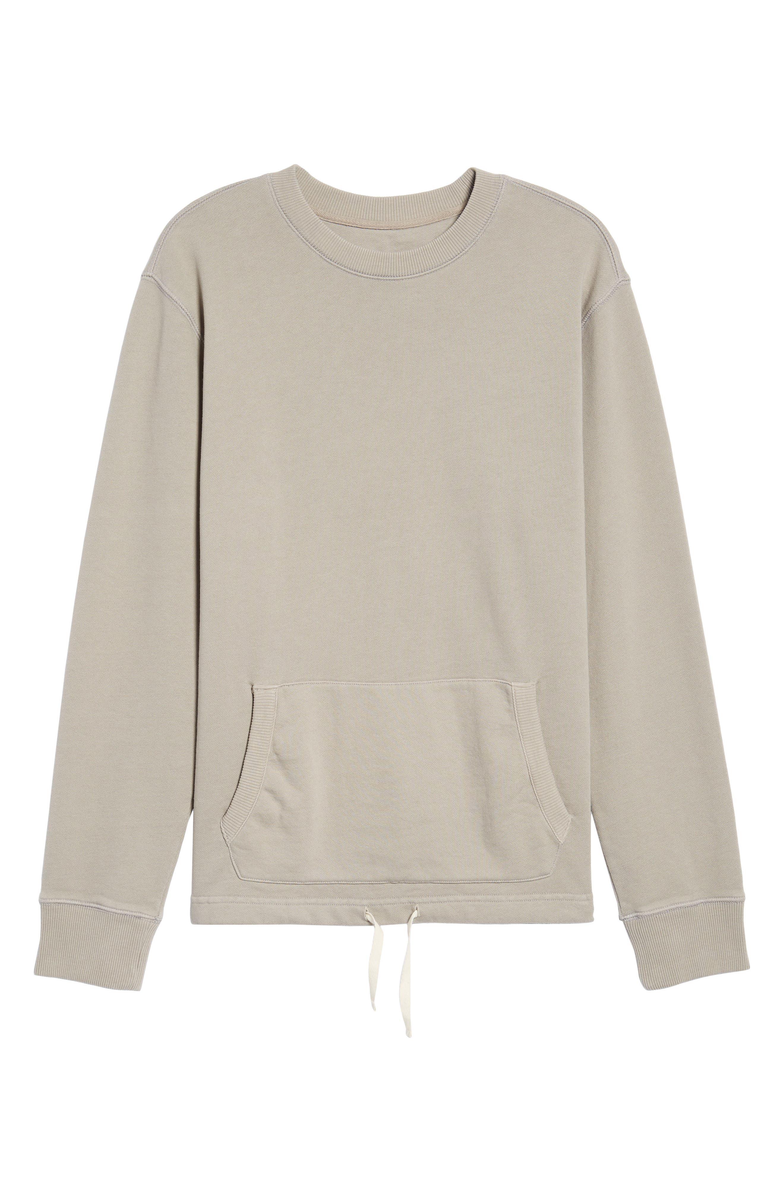 Drawcord Hem Sweatshirt,                             Alternate thumbnail 6, color,                             Tan Aluminum