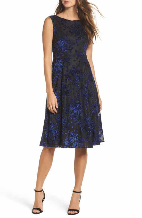 Betsey Johnson Burnout Velvet Midi Dress