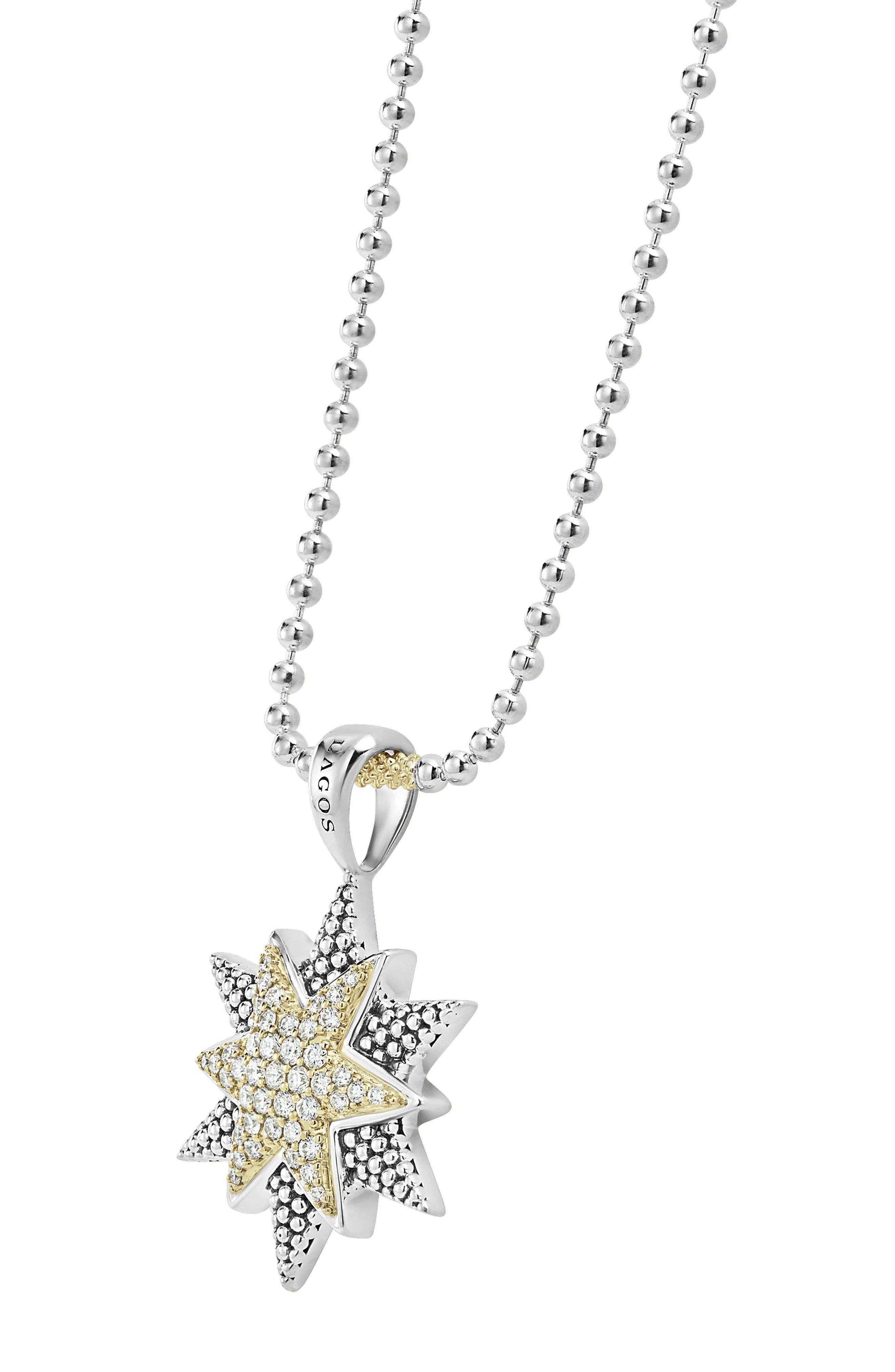 North Star Large Diamond Pendant Necklace,                             Alternate thumbnail 3, color,                             Diamond