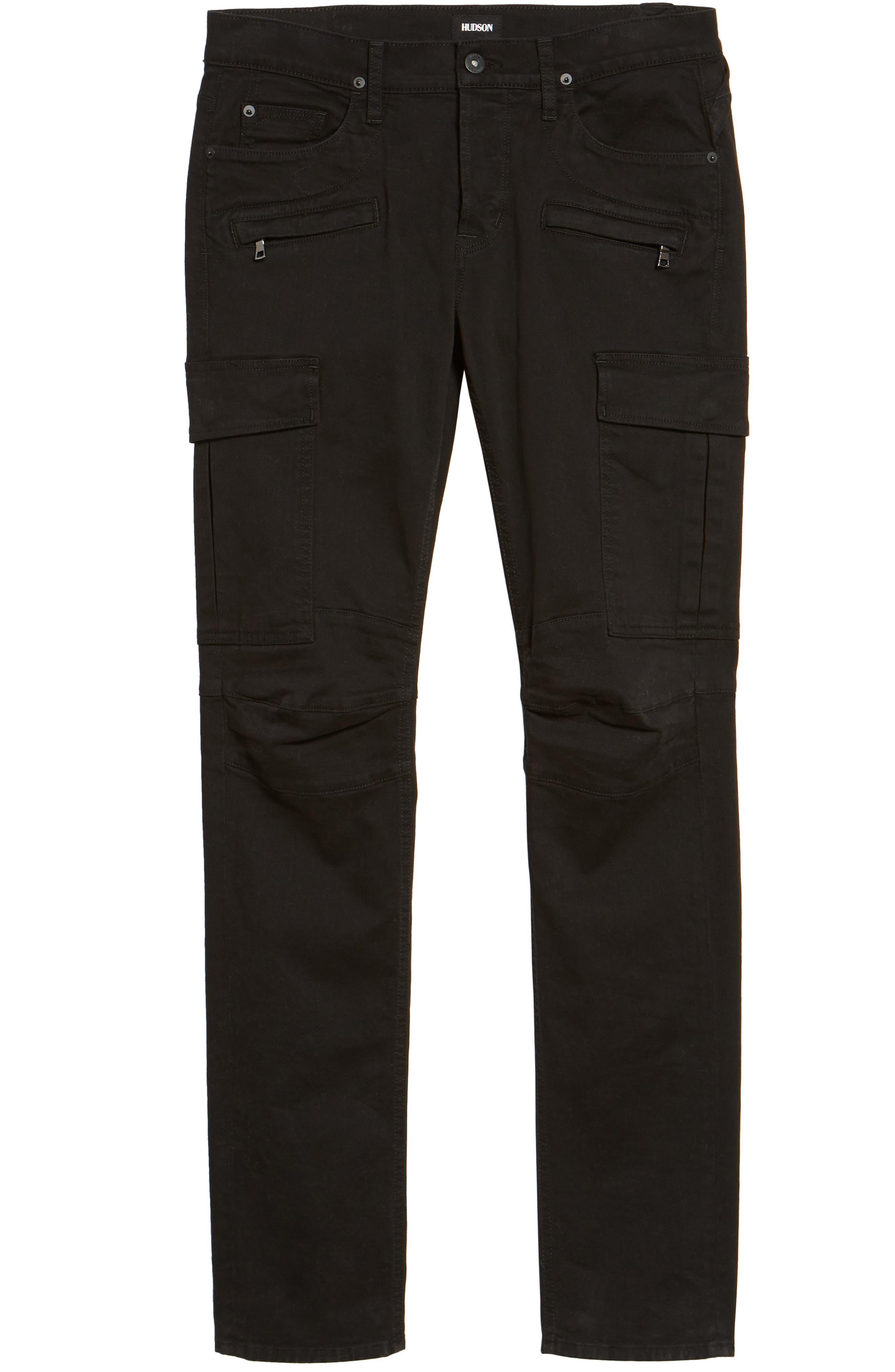 Alternate Image 6  - Hudson Jeans Greyson Cargo Biker Skinny Fit Jeans (Black)