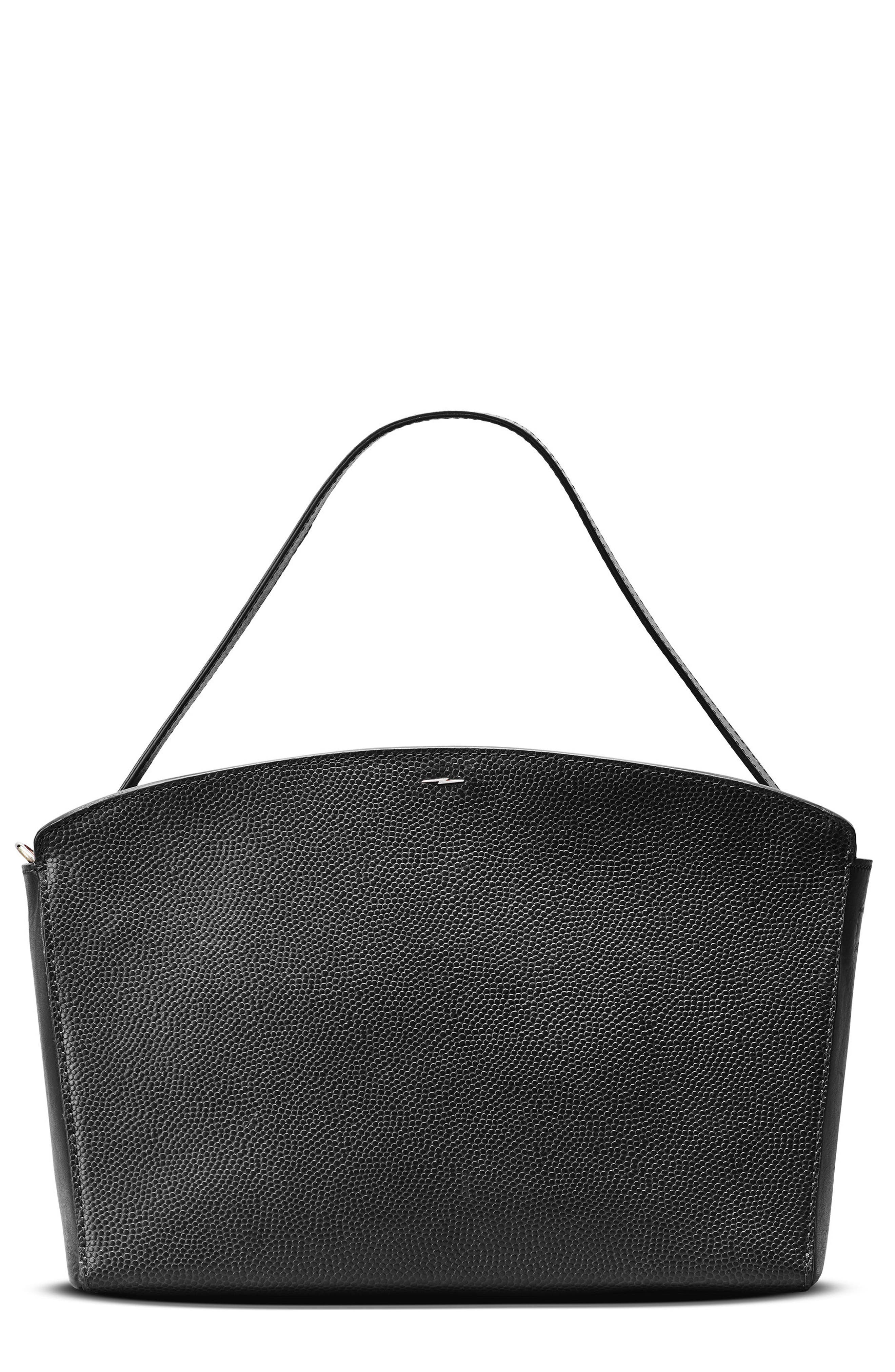 Curved Latigo Leather Satchel,                         Main,                         color, Black