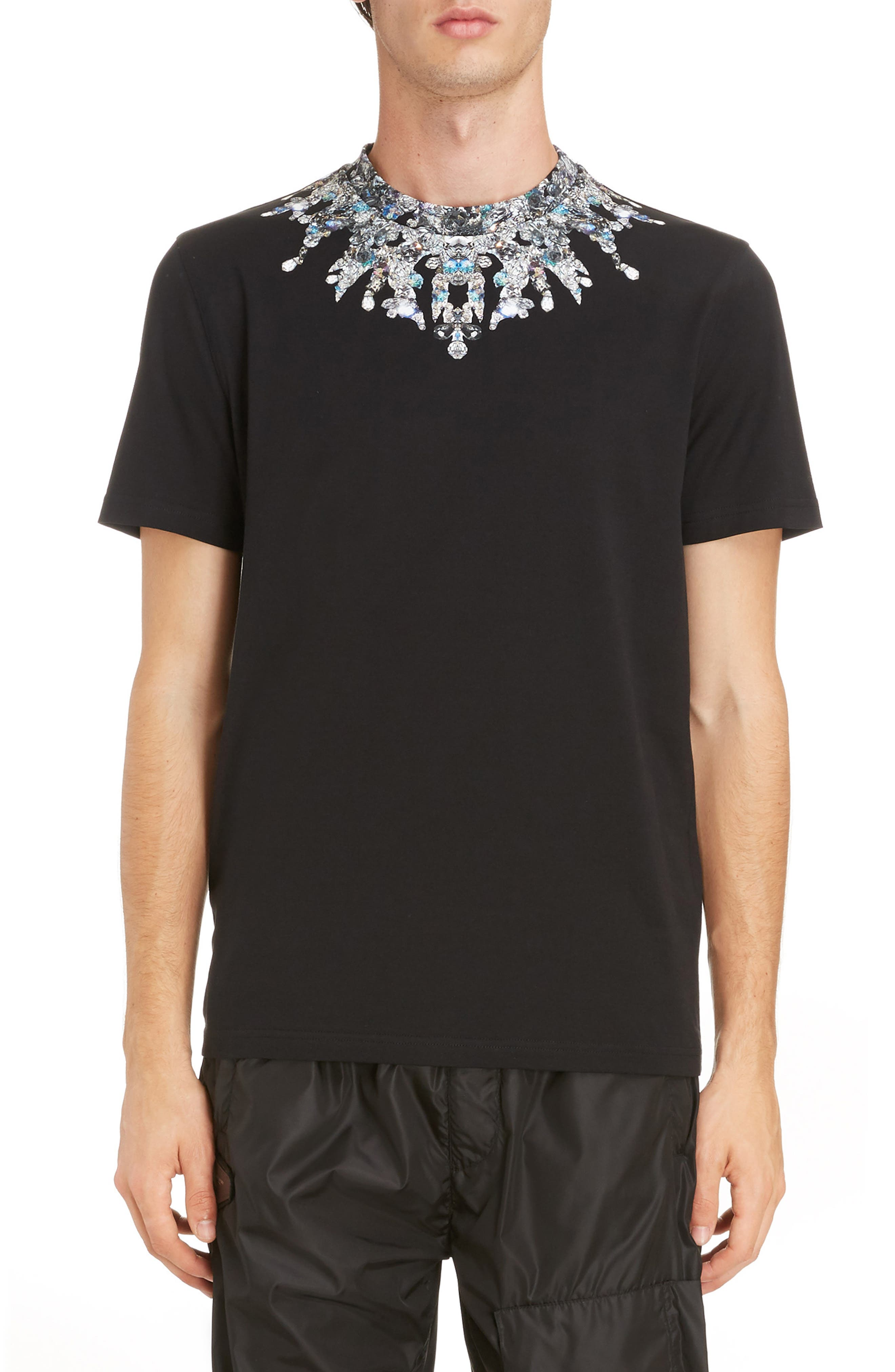 Jewel Print Crewneck T-Shirt,                             Main thumbnail 1, color,                             Black