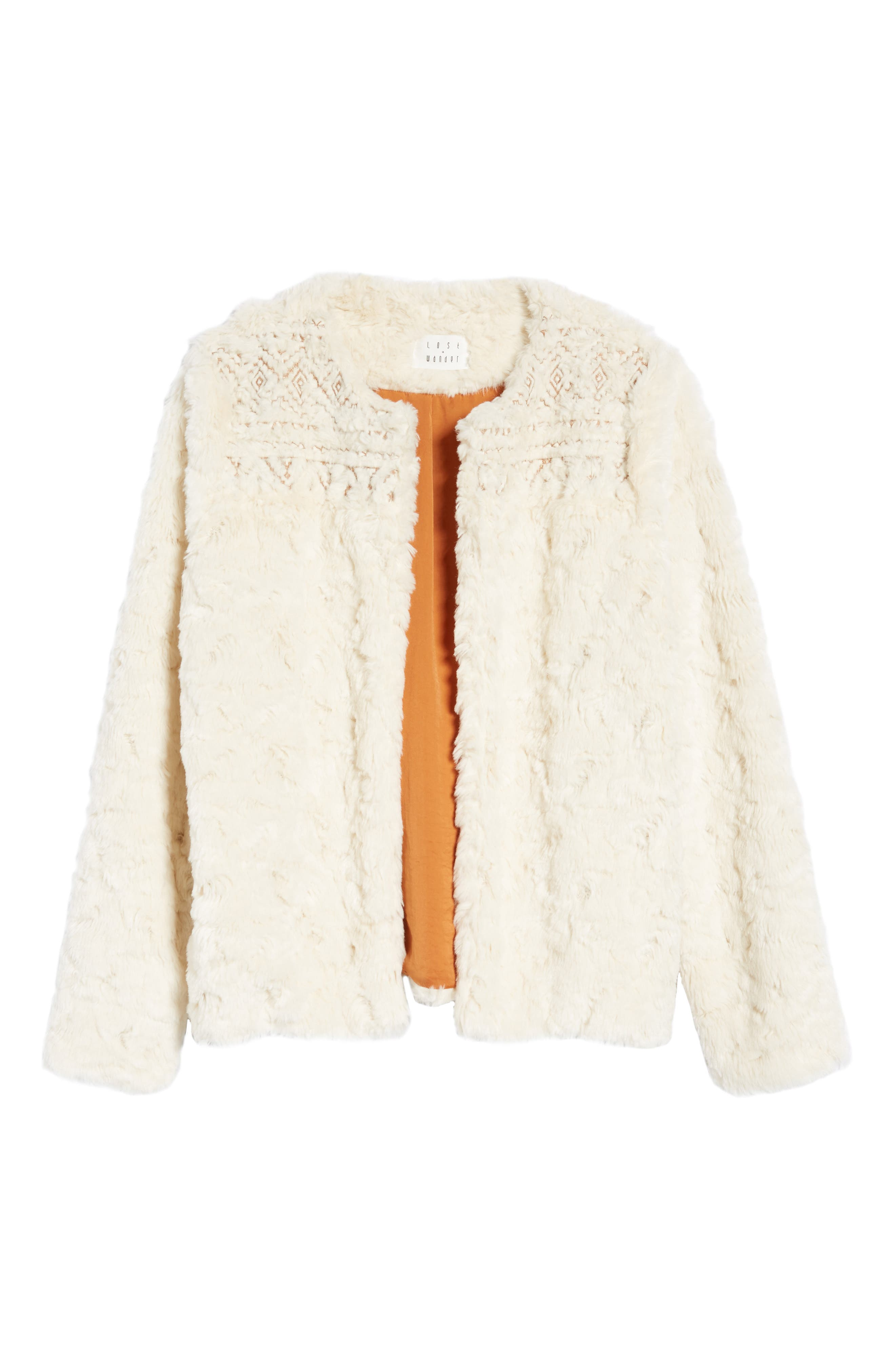 Metallic Embroidery Faux Fur Jacket,                             Alternate thumbnail 6, color,                             Ivory