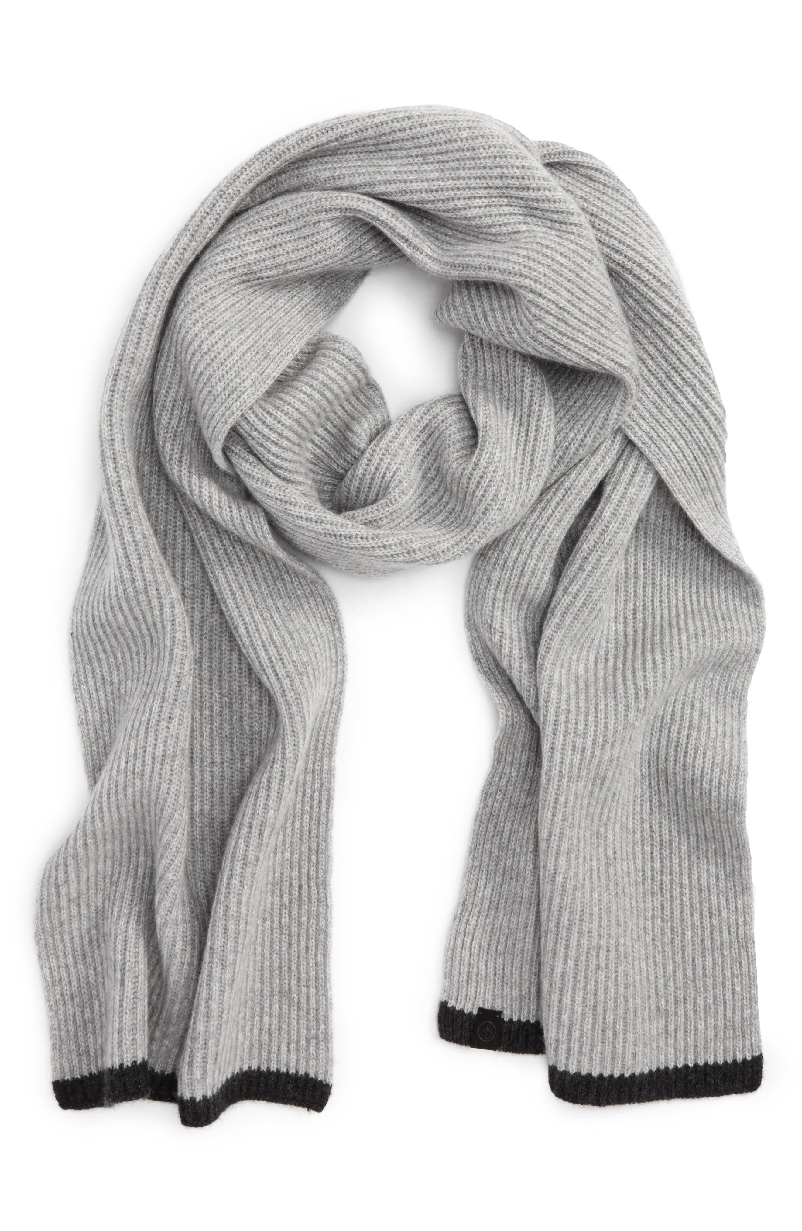 Ace Rib Knit Cashmere Scarf,                         Main,                         color, Grey