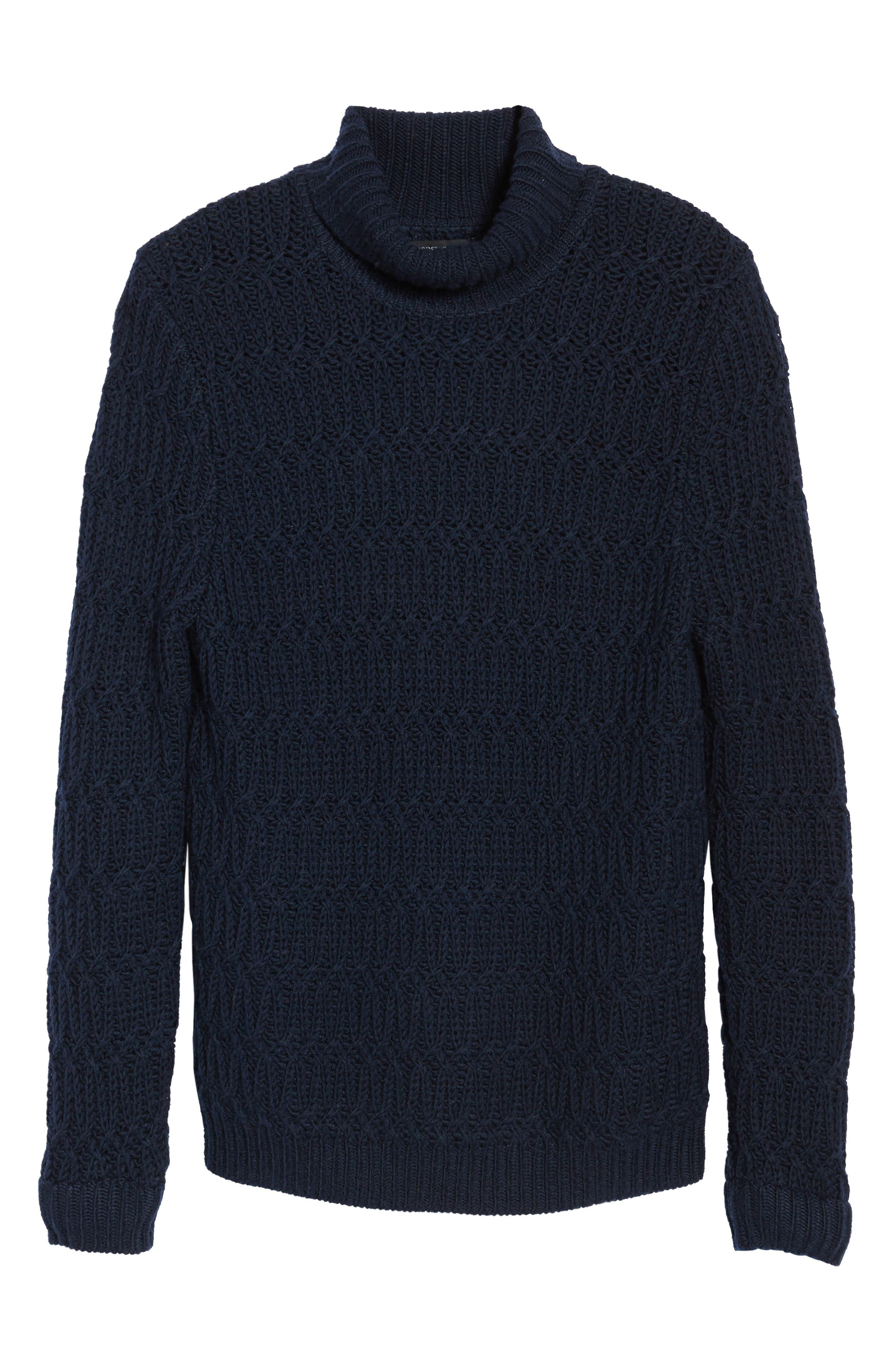 Chunky Turtleneck Sweater,                             Alternate thumbnail 8, color,                             Navy Iris