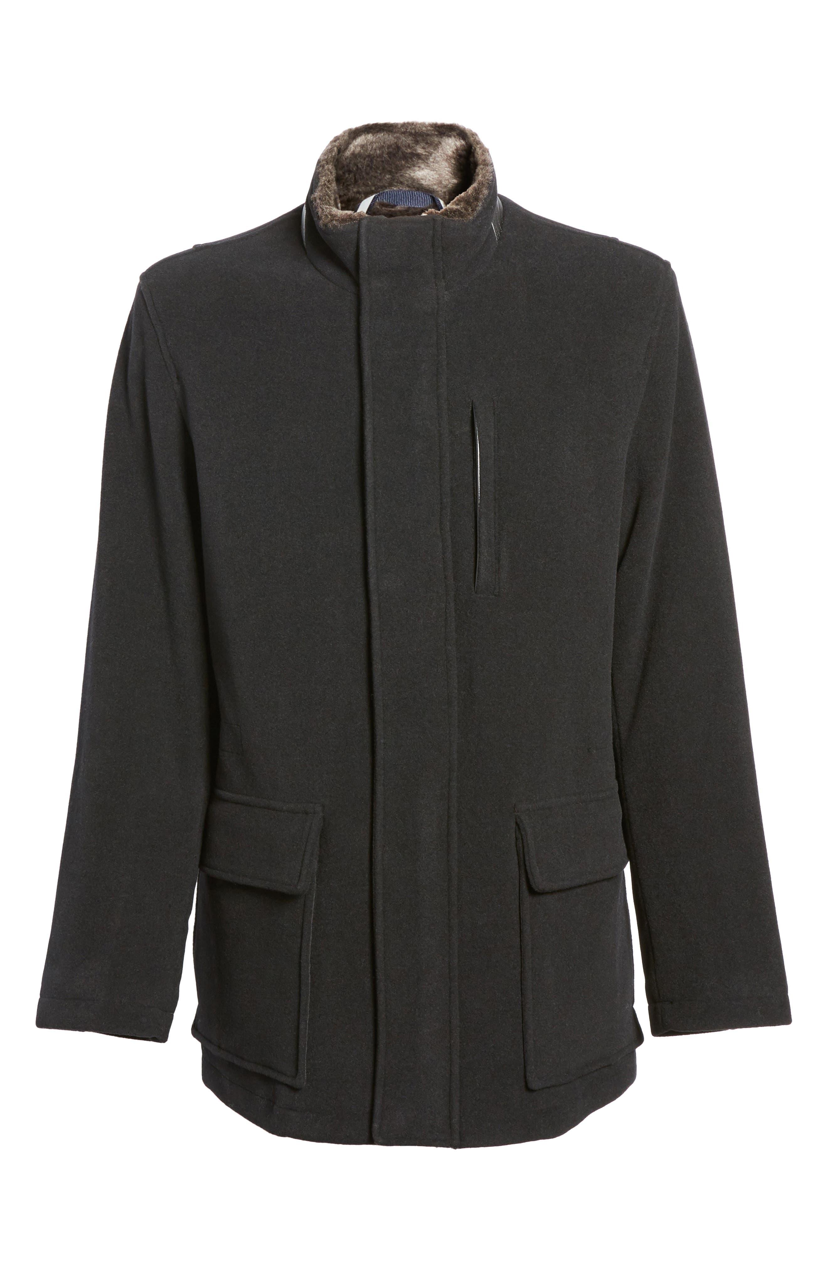 Faux Fur Collar Wool Blend Parka,                             Alternate thumbnail 6, color,                             Black