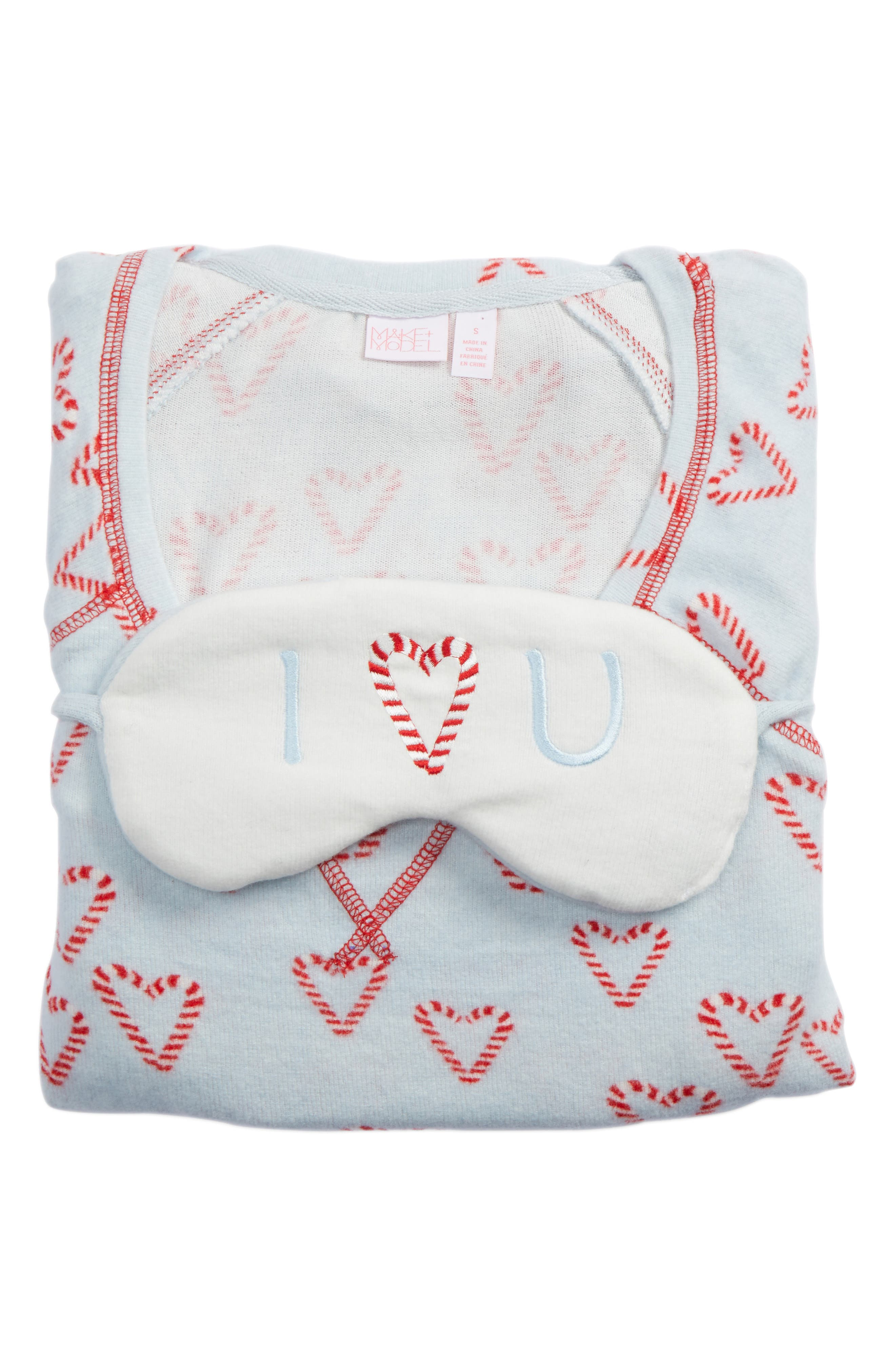 Alternate Image 4  - Make + Model Knit Girlfriend Pajamas & Eye Mask