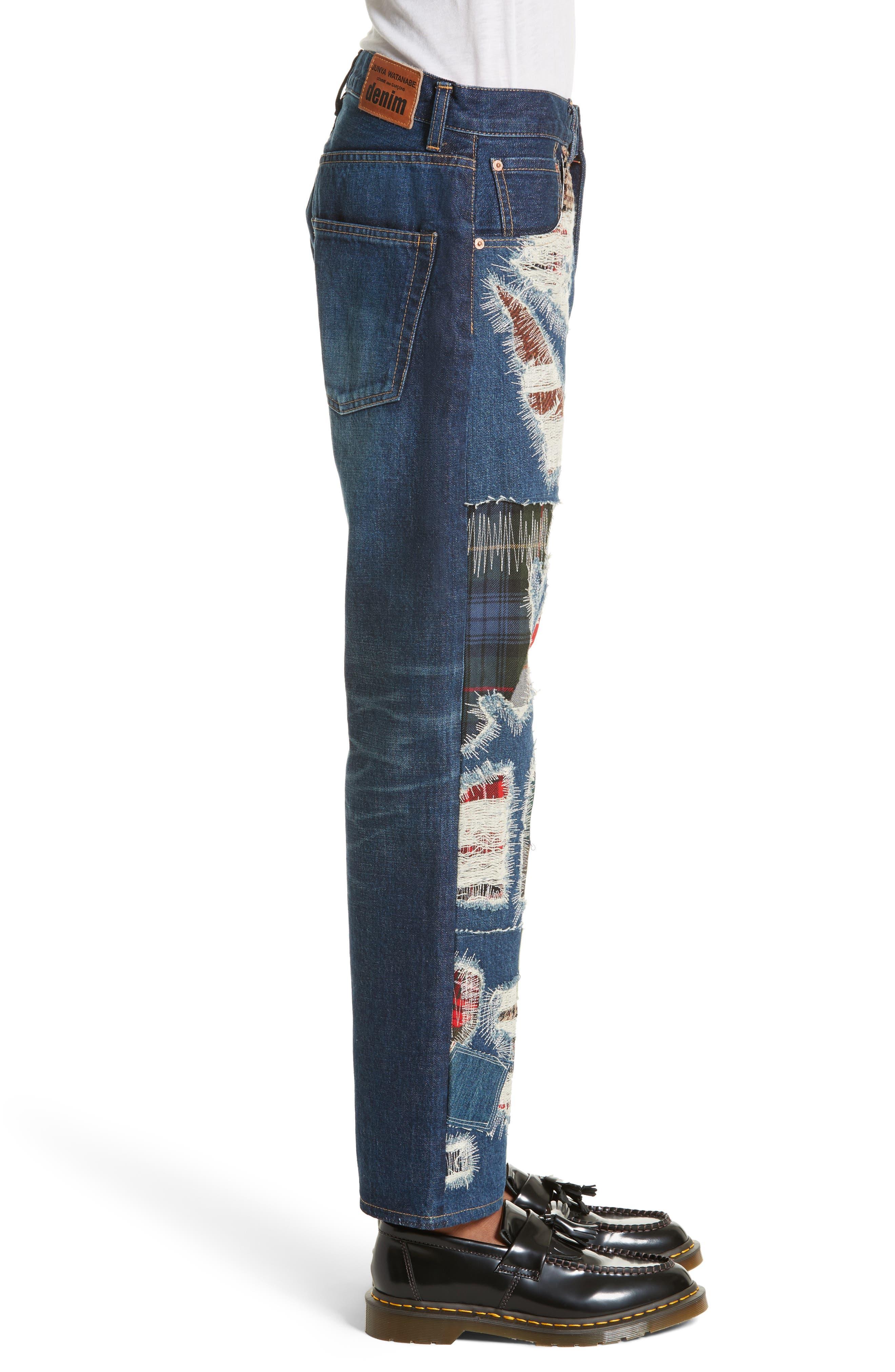 Distressed Patch Jeans,                             Alternate thumbnail 3, color,                             Indigo X Mix