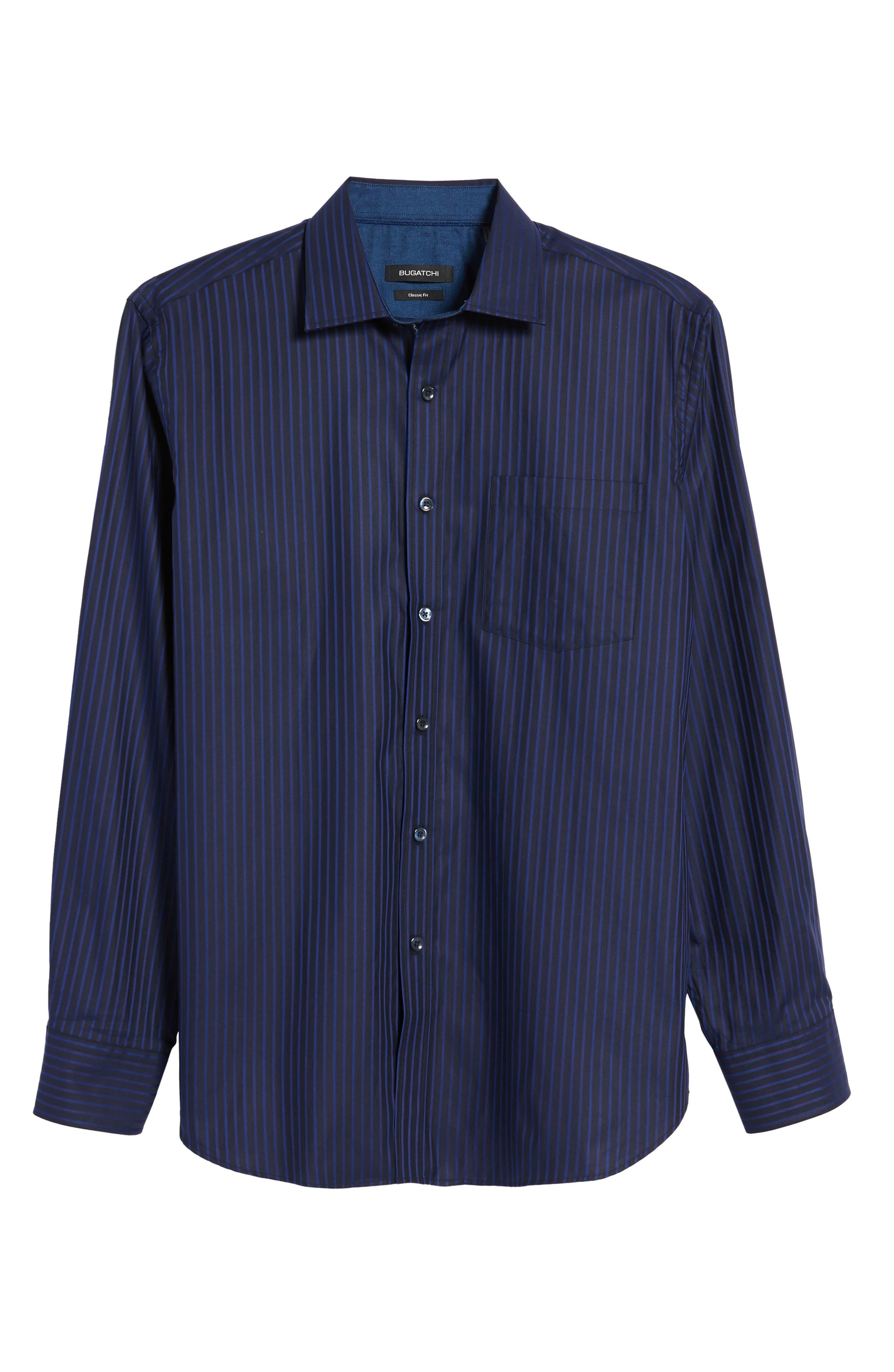 Classic Fit Stripe Sport Shirt,                             Alternate thumbnail 6, color,                             Night Blue