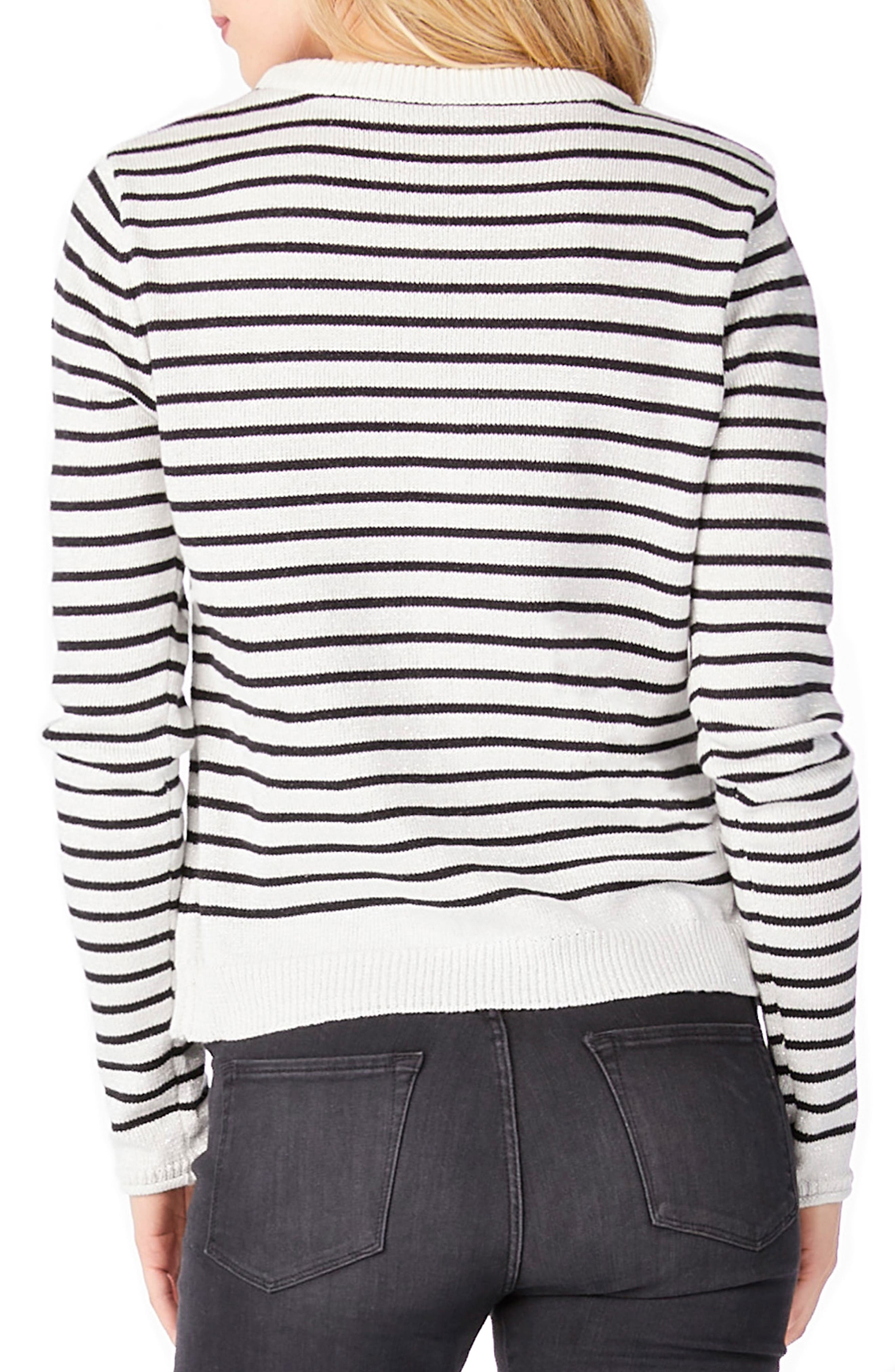 Stripe Patch Crewneck Sweater,                             Alternate thumbnail 2, color,                             White/ Black