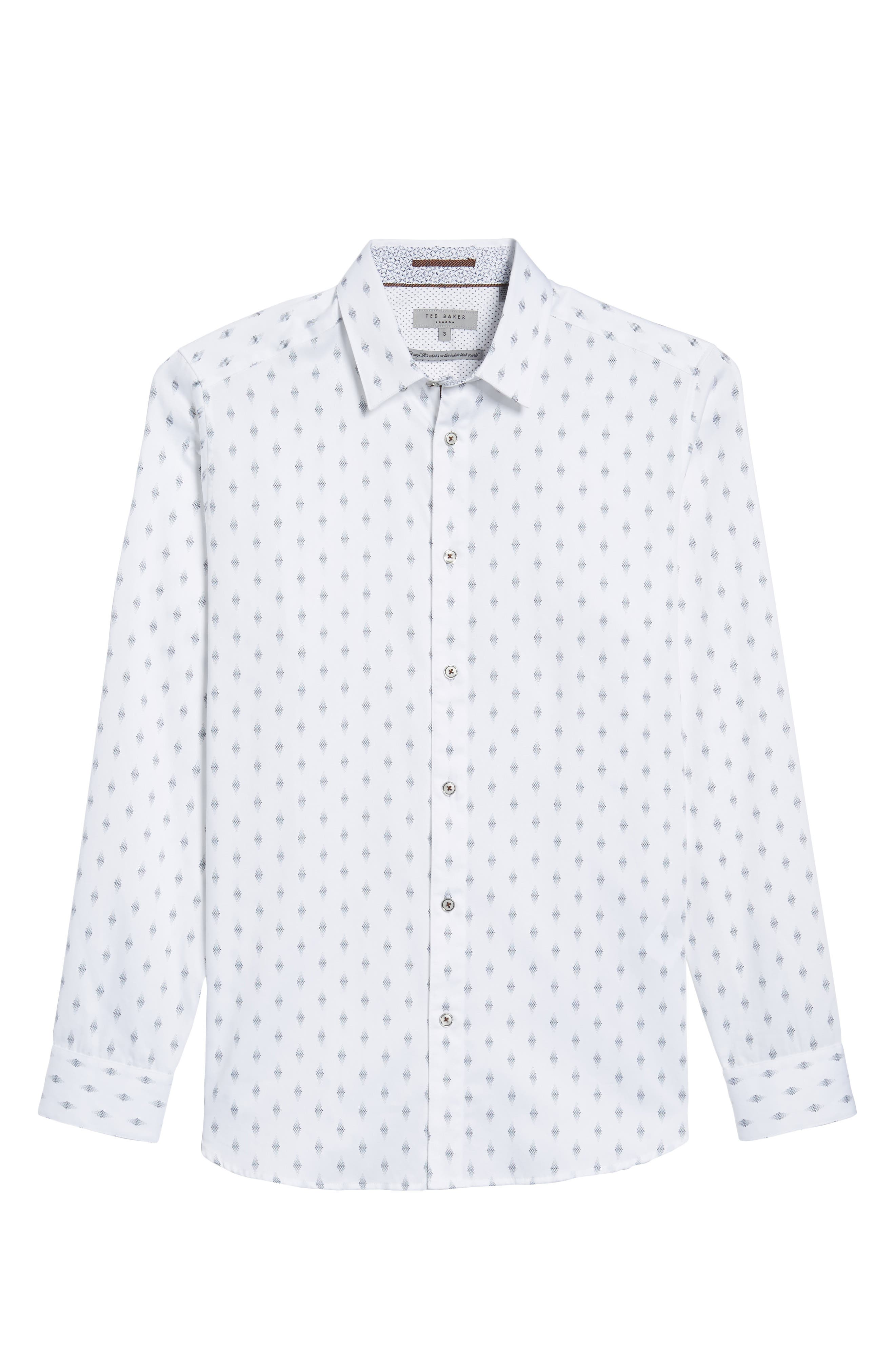 Monico Slim Fit Dot Diamond Sport Shirt,                             Alternate thumbnail 6, color,                             White