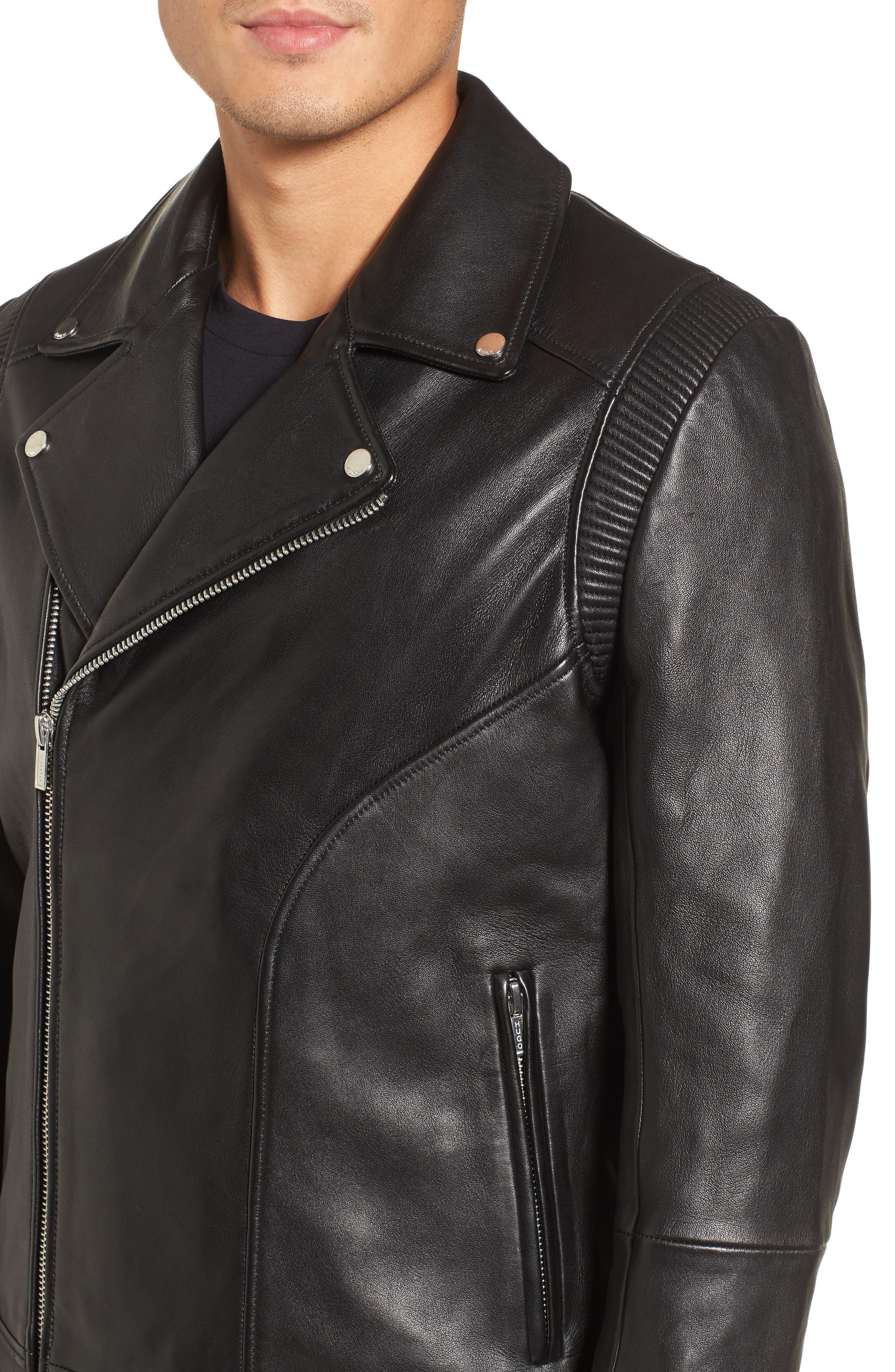 Laston Leather Moto Jacket,                             Alternate thumbnail 4, color,                             Black