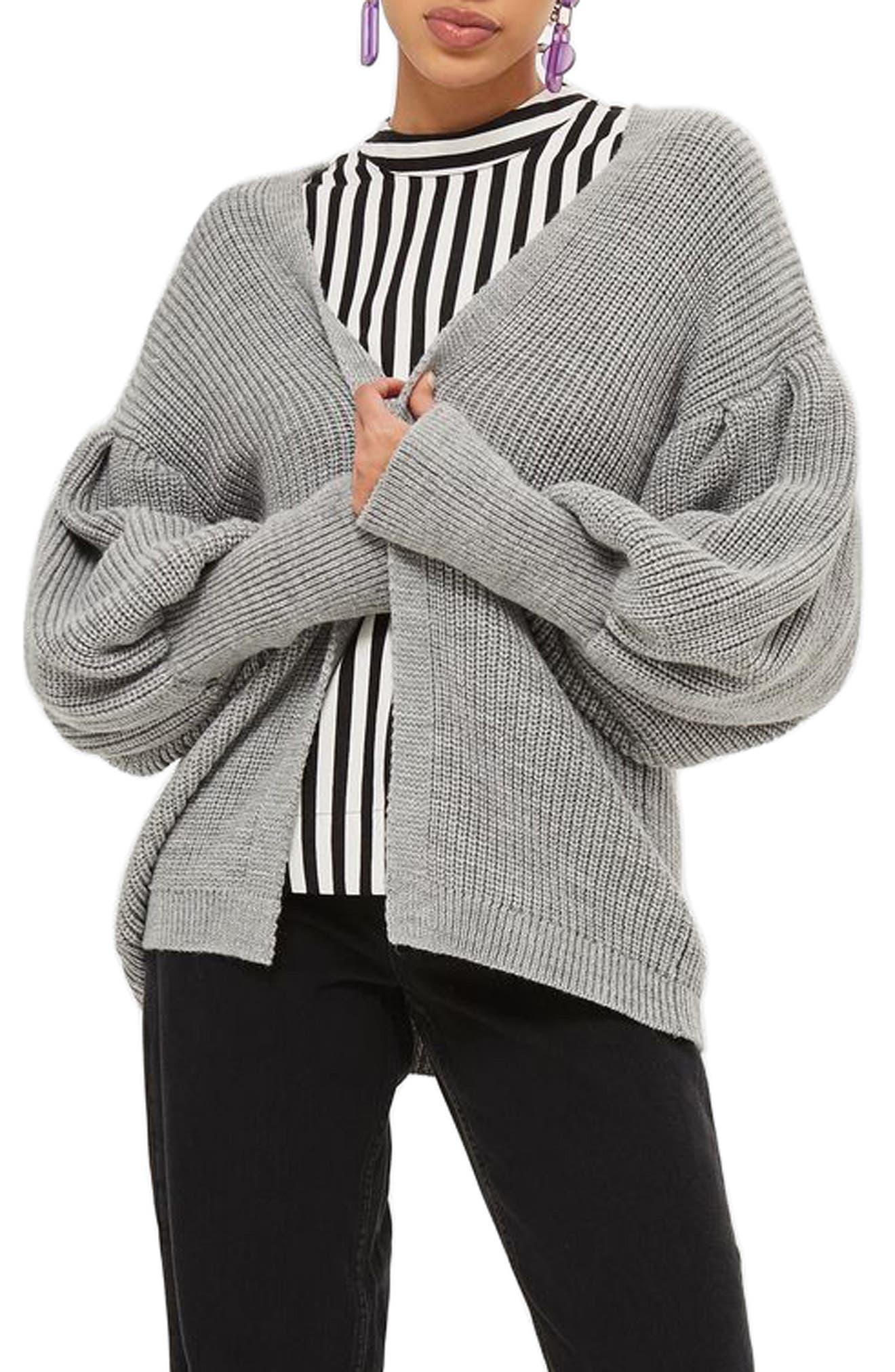 Pleated Balloon Sleeve Cardigan,                         Main,                         color, Grey