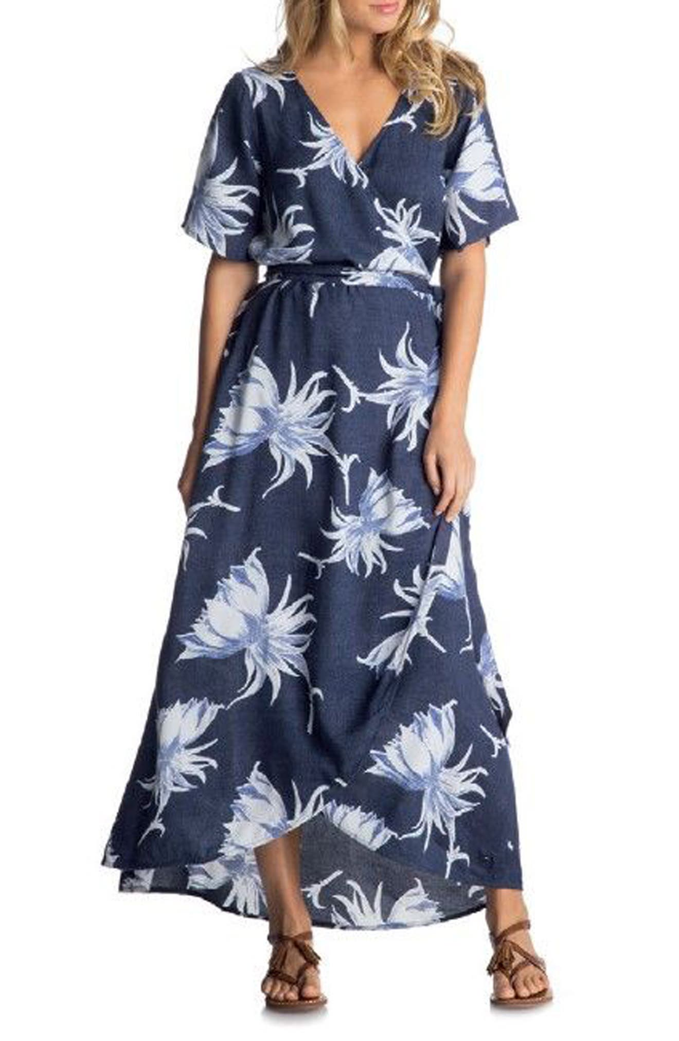 Keep the Tempo Wrap Dress,                             Main thumbnail 1, color,                             Dress Blue Cadaques Flower