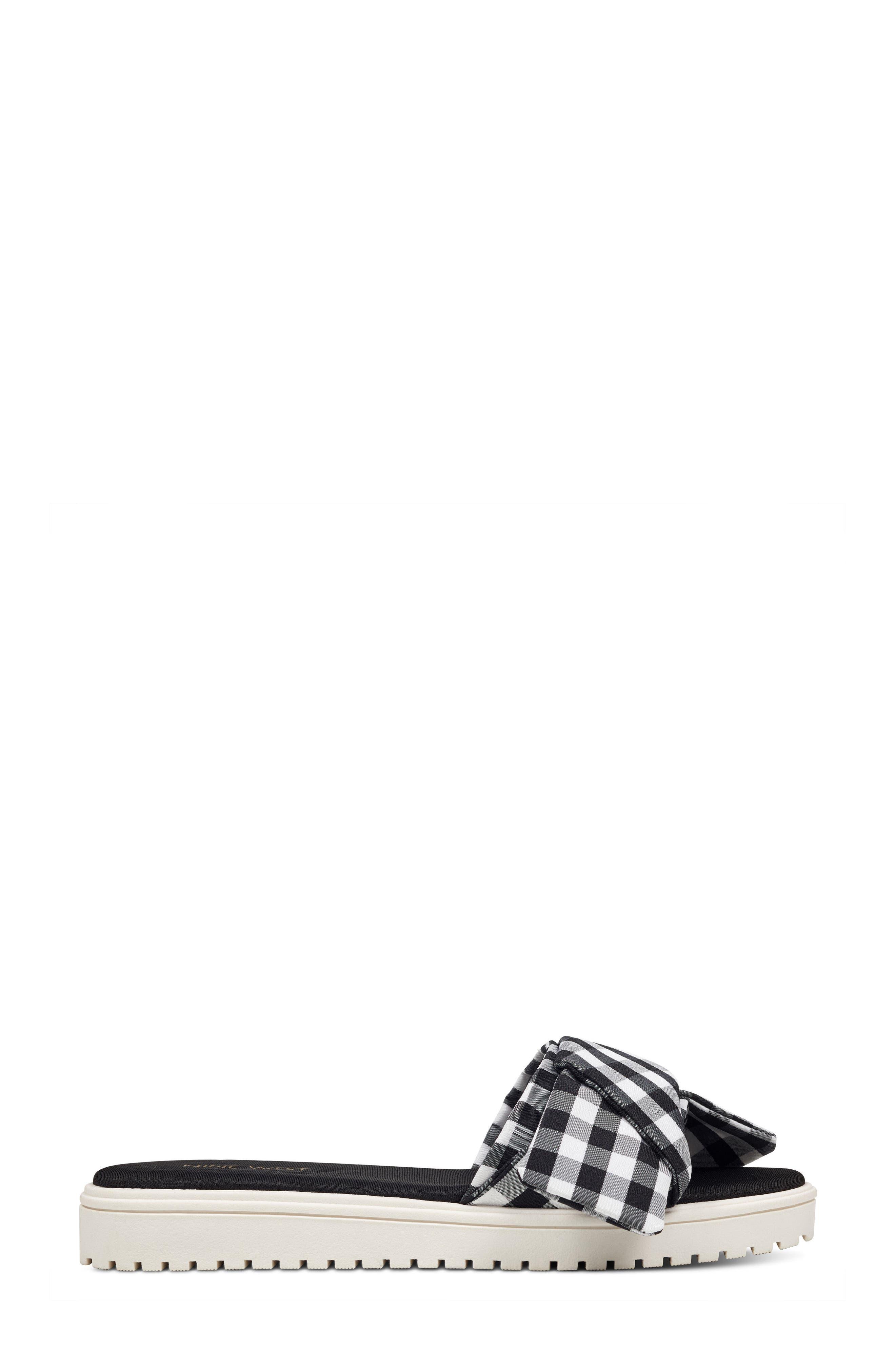 Ruth Slide Sandal,                             Alternate thumbnail 3, color,                             Black/ White Fabric