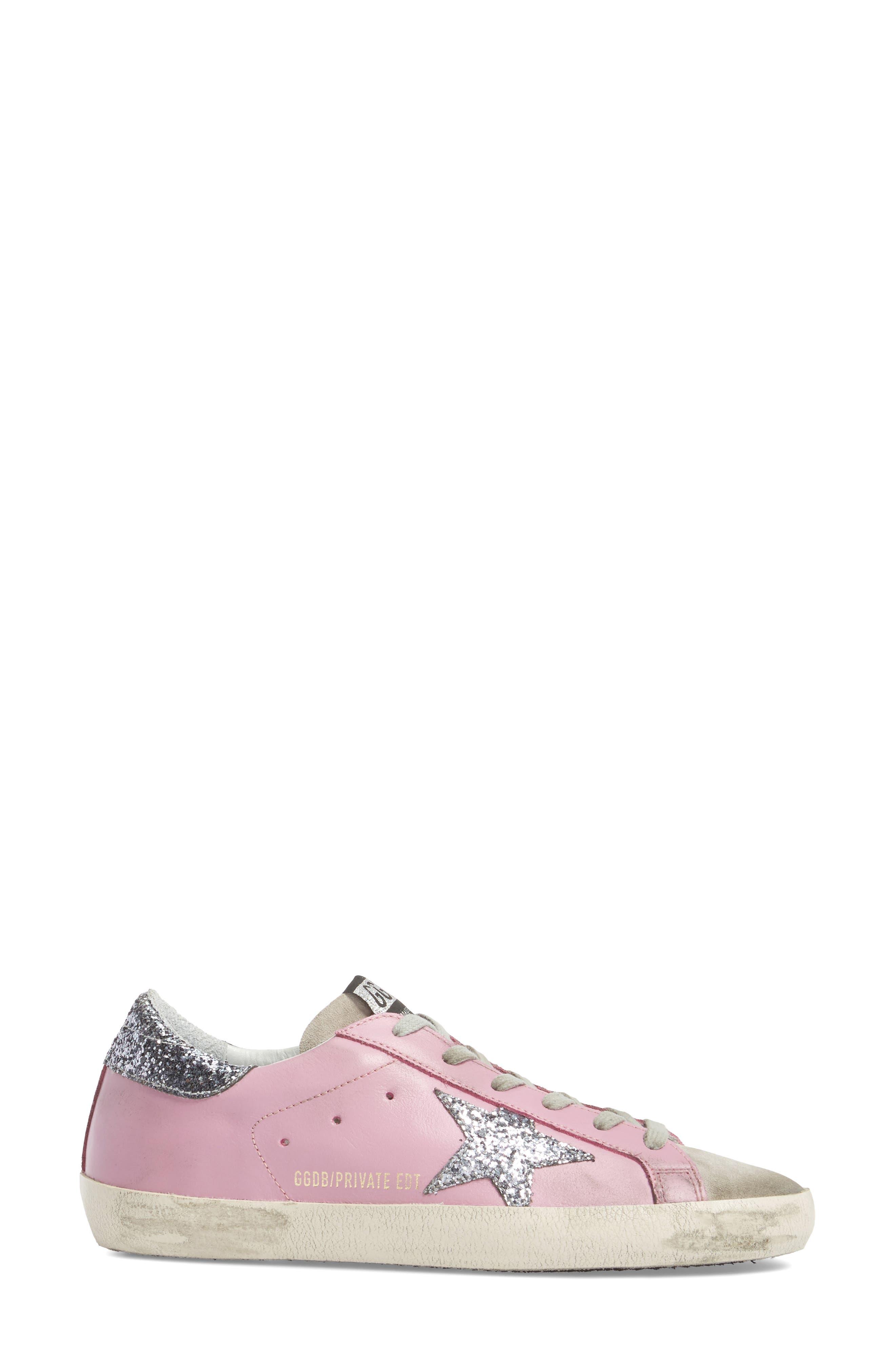 Superstar Low Top Sneaker,                             Alternate thumbnail 3, color,                             Pink/ Grey