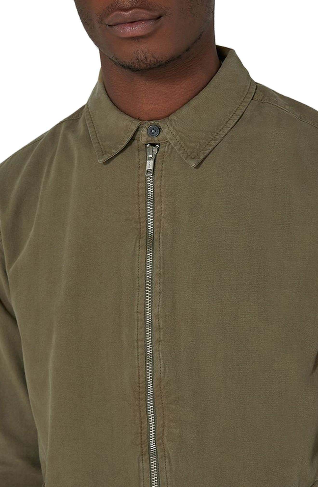 Zip Front Shirt Jacket,                             Alternate thumbnail 3, color,                             Olive