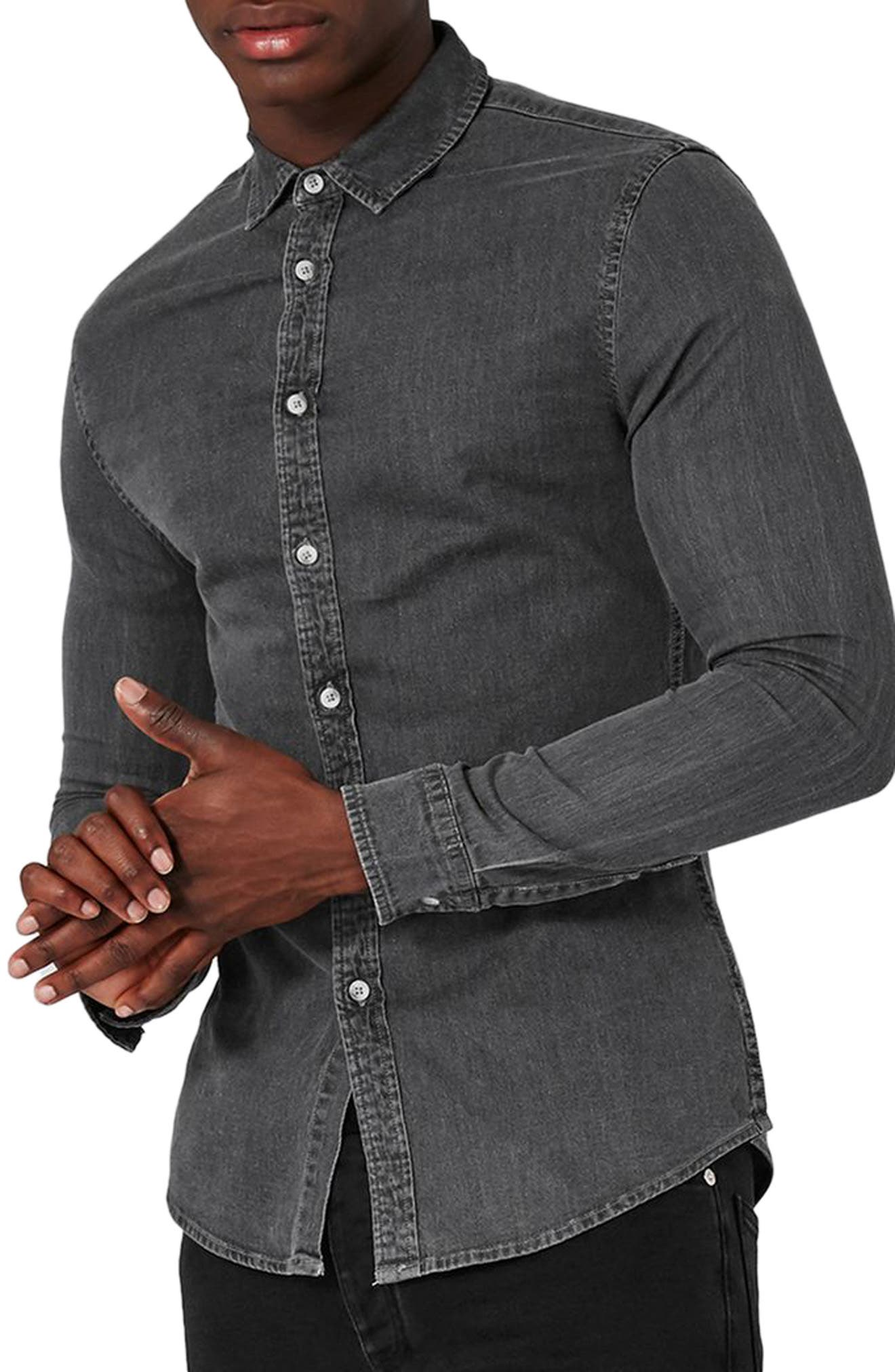 Topman Muscle Fit Bleach Denim Shirt