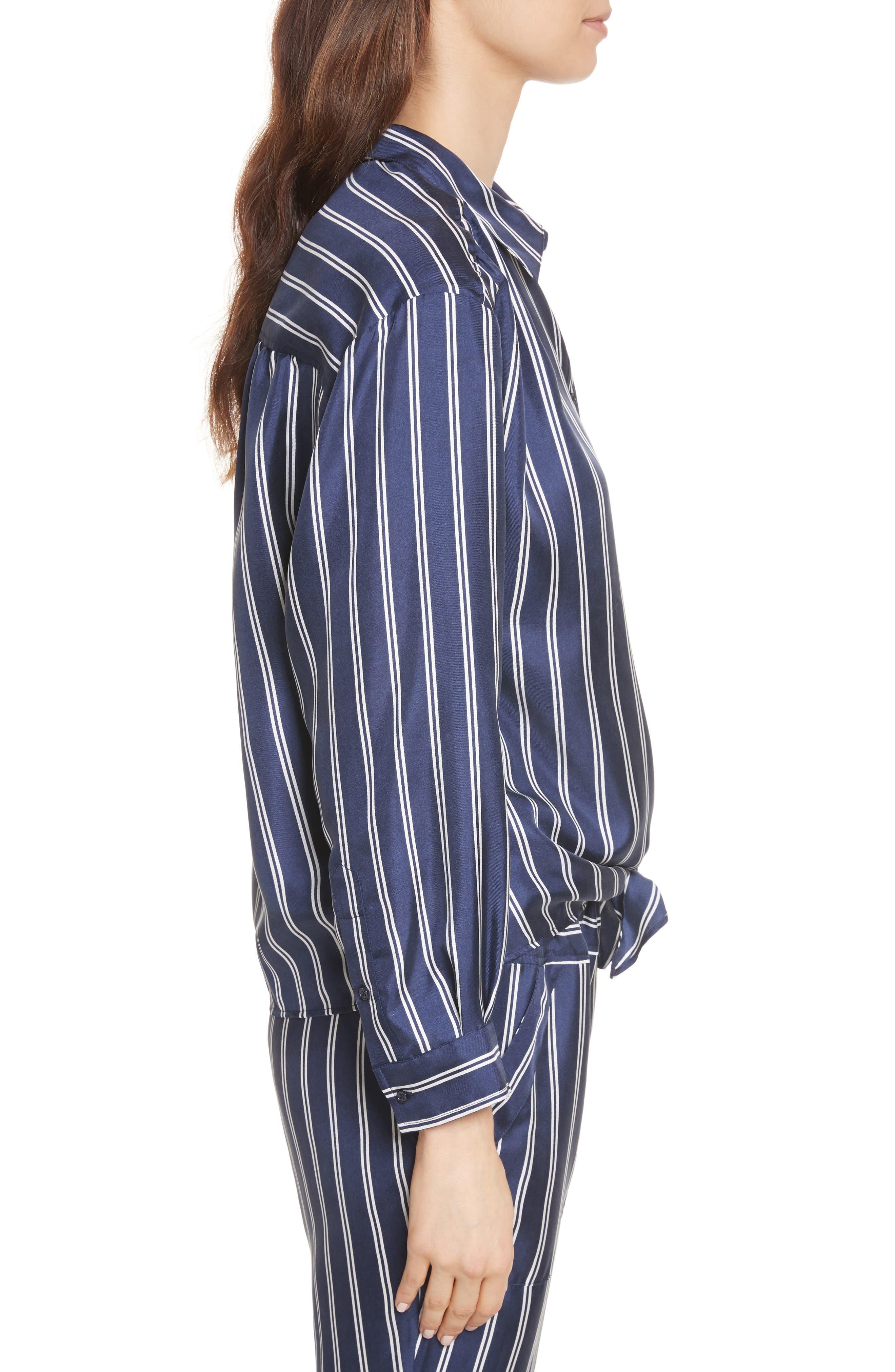 Adiba Stripe Silk Shirt,                             Alternate thumbnail 3, color,                             Dark Navy