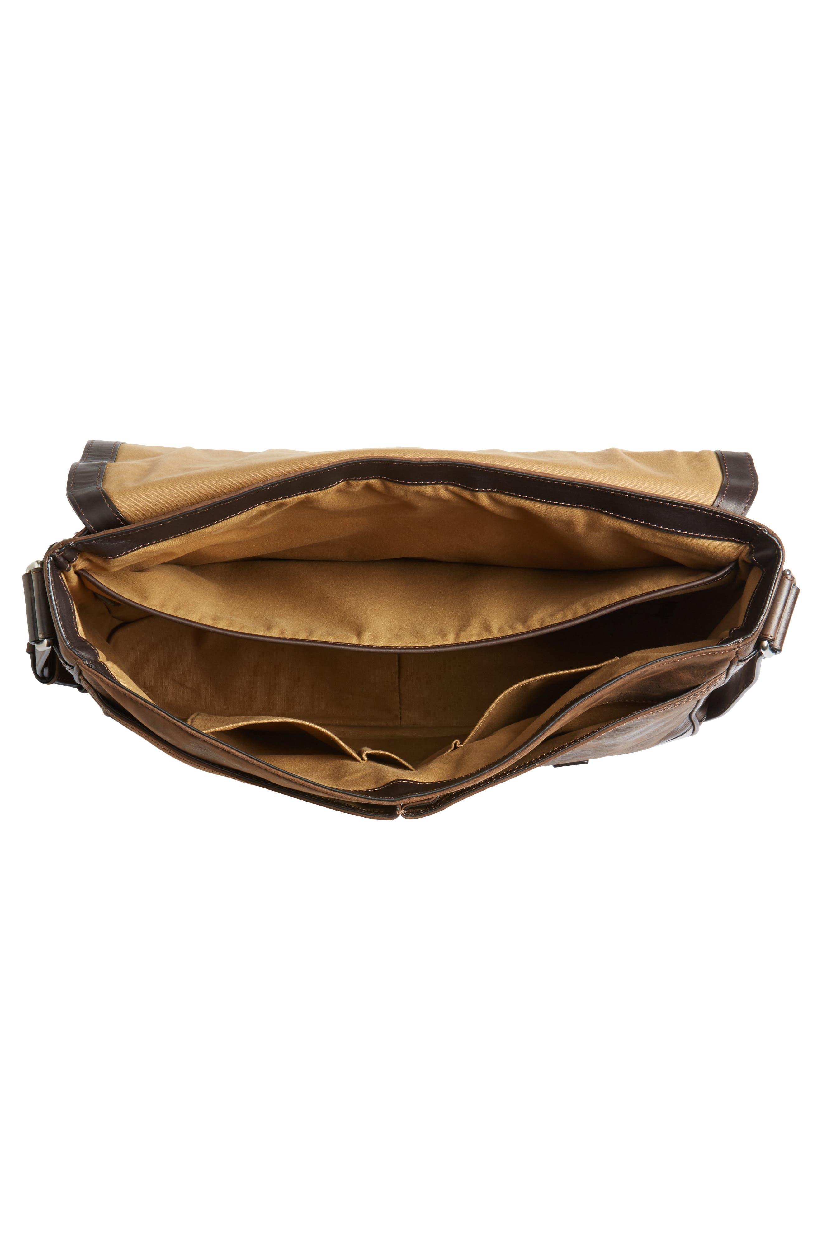 Oliver Leather Messenger Bag,                             Alternate thumbnail 4, color,                             Dark Brown