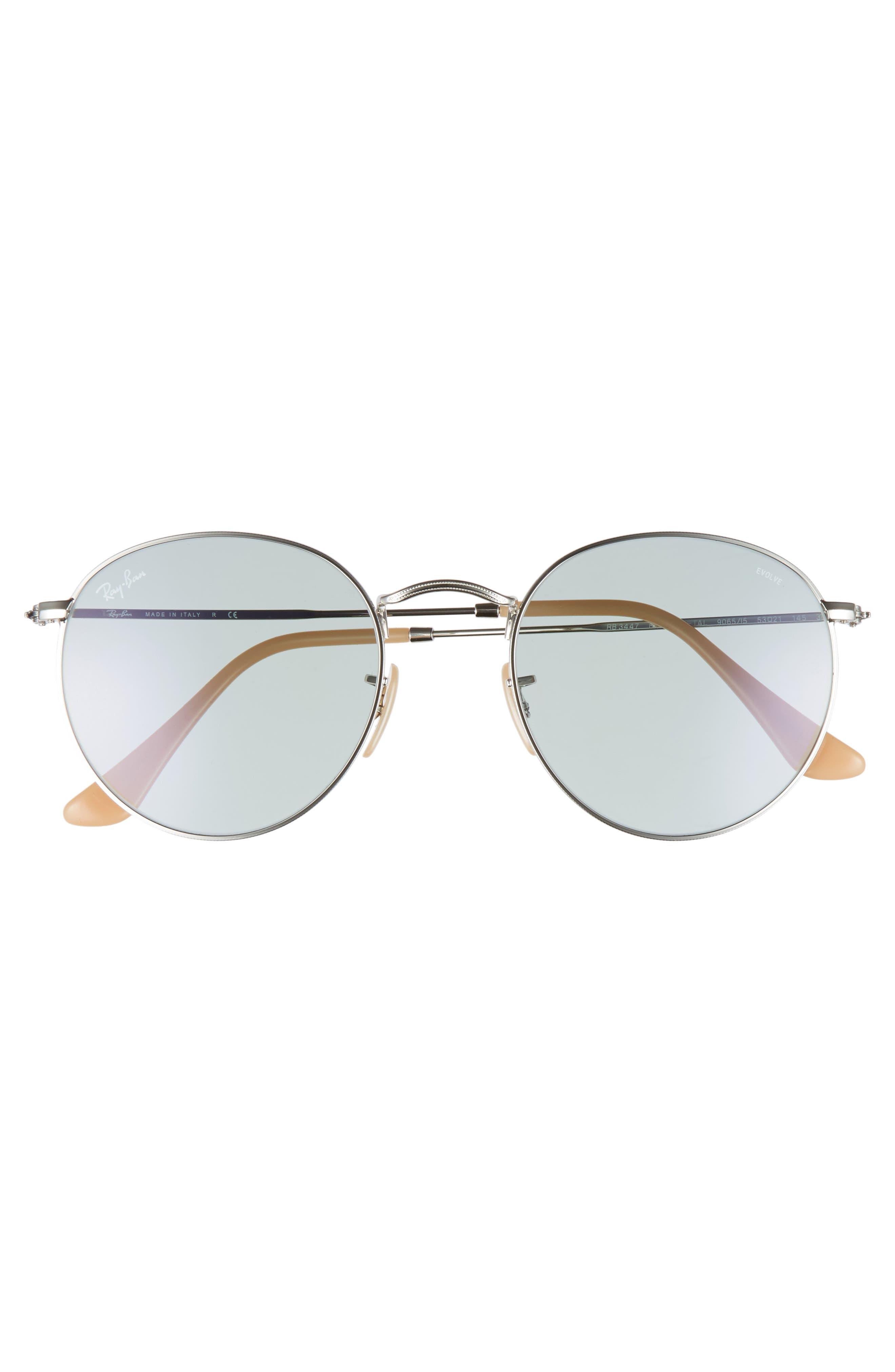 53mm Polarized Round Sunglasses,                             Alternate thumbnail 3, color,                             Silver Blue