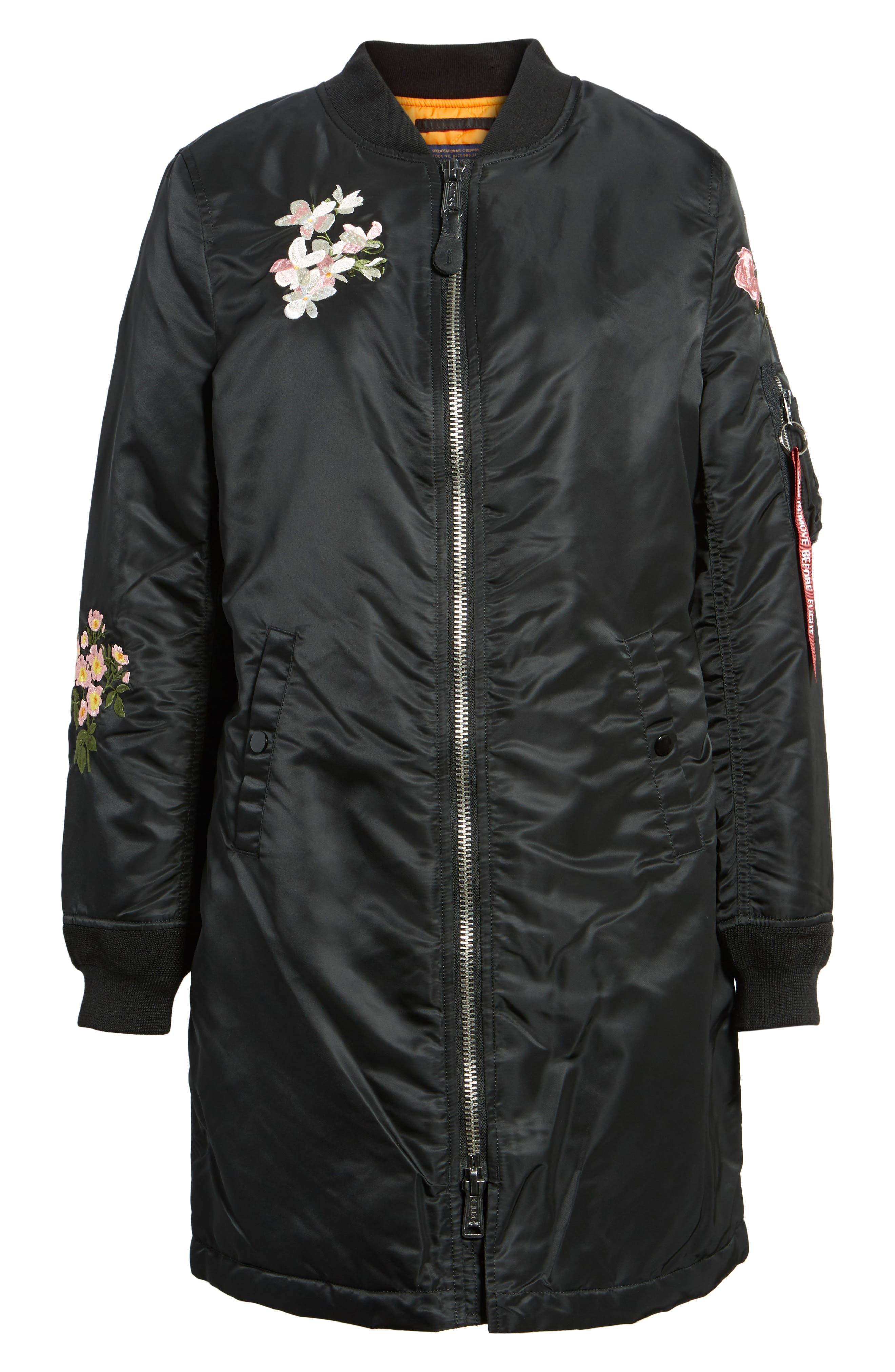 Long Souvenir Illusion MA-1 Jacket,                             Alternate thumbnail 5, color,                             Black