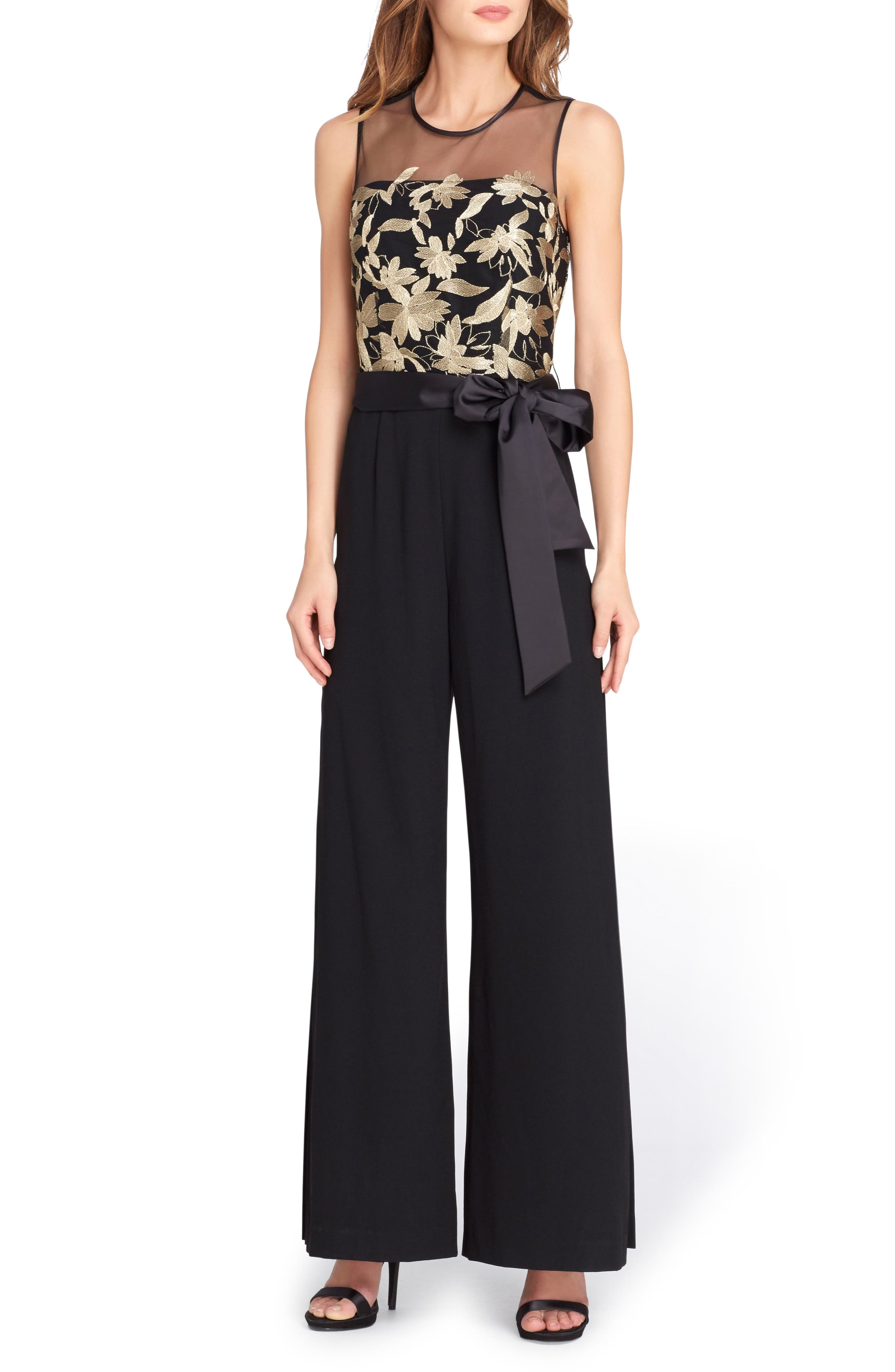 Embroidered Jumpsuit,                             Main thumbnail 1, color,                             Black/ Gold