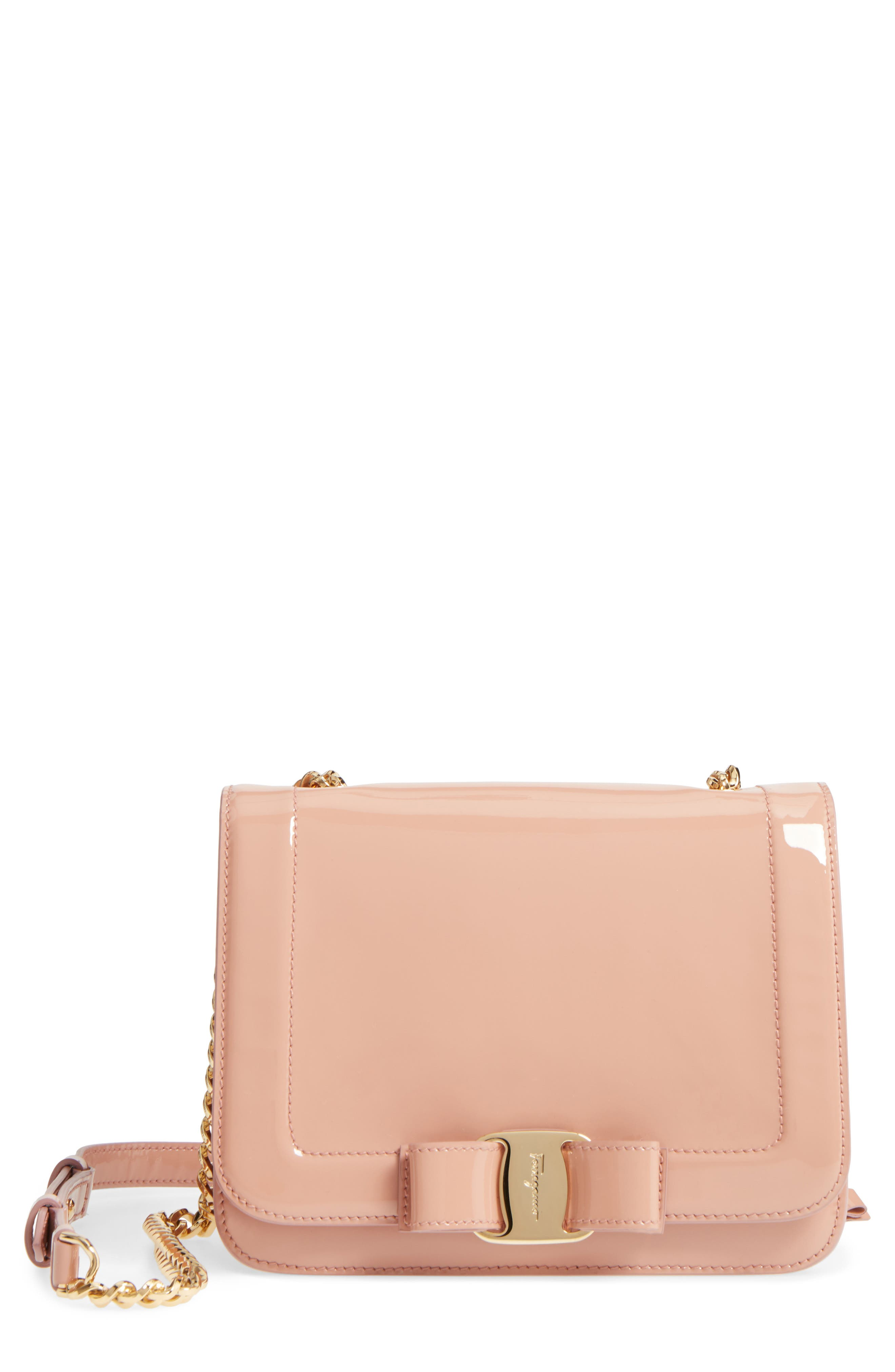 Vara Patent Leather Shoulder Bag,                         Main,                         color, New Blush/ Bonbon