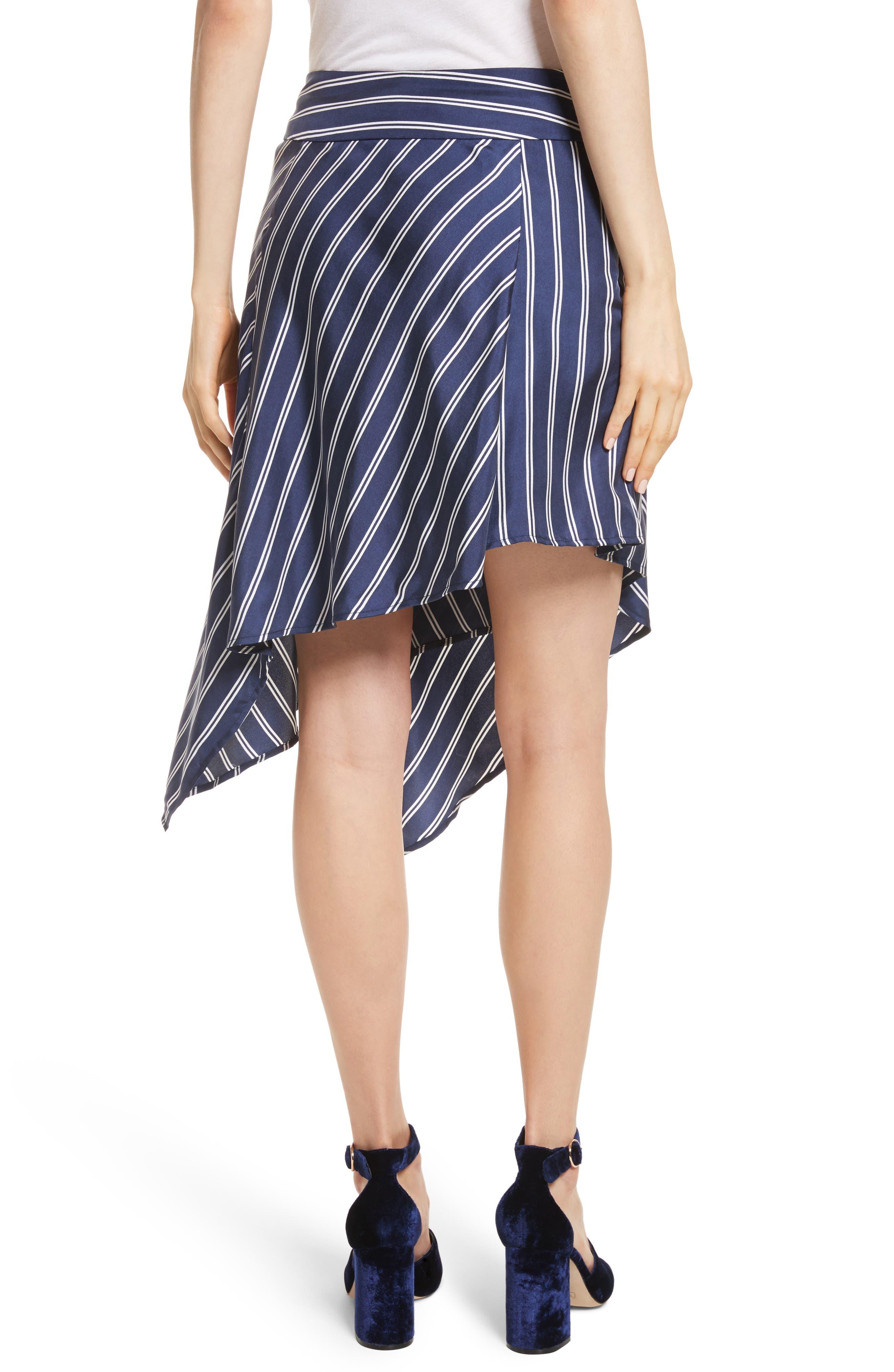 Adelpha Stripe Silk Skirt,                             Alternate thumbnail 2, color,                             Dark Navy