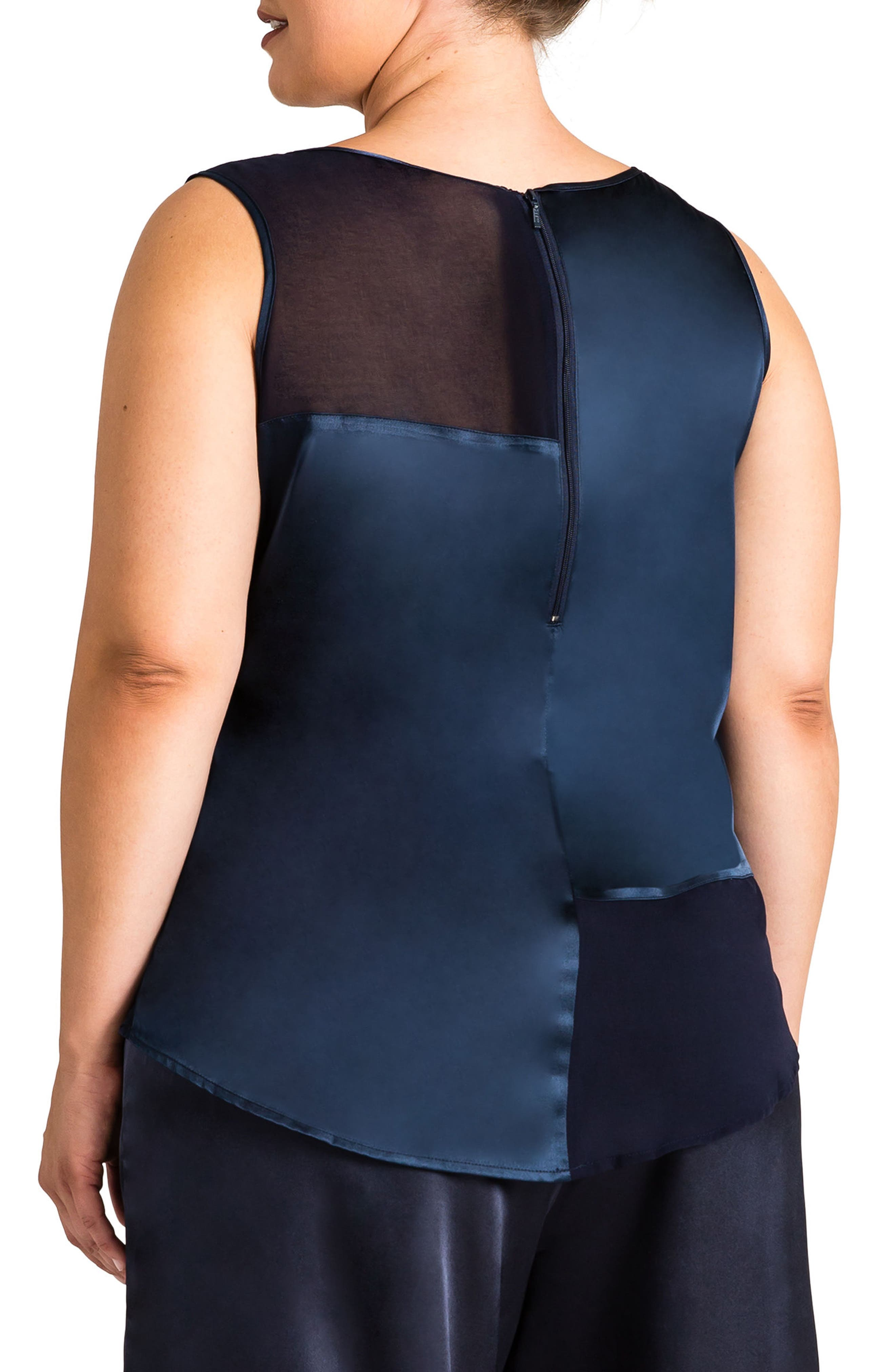 Jenny Sheer Inset Top,                             Alternate thumbnail 2, color,                             Midnight Blue