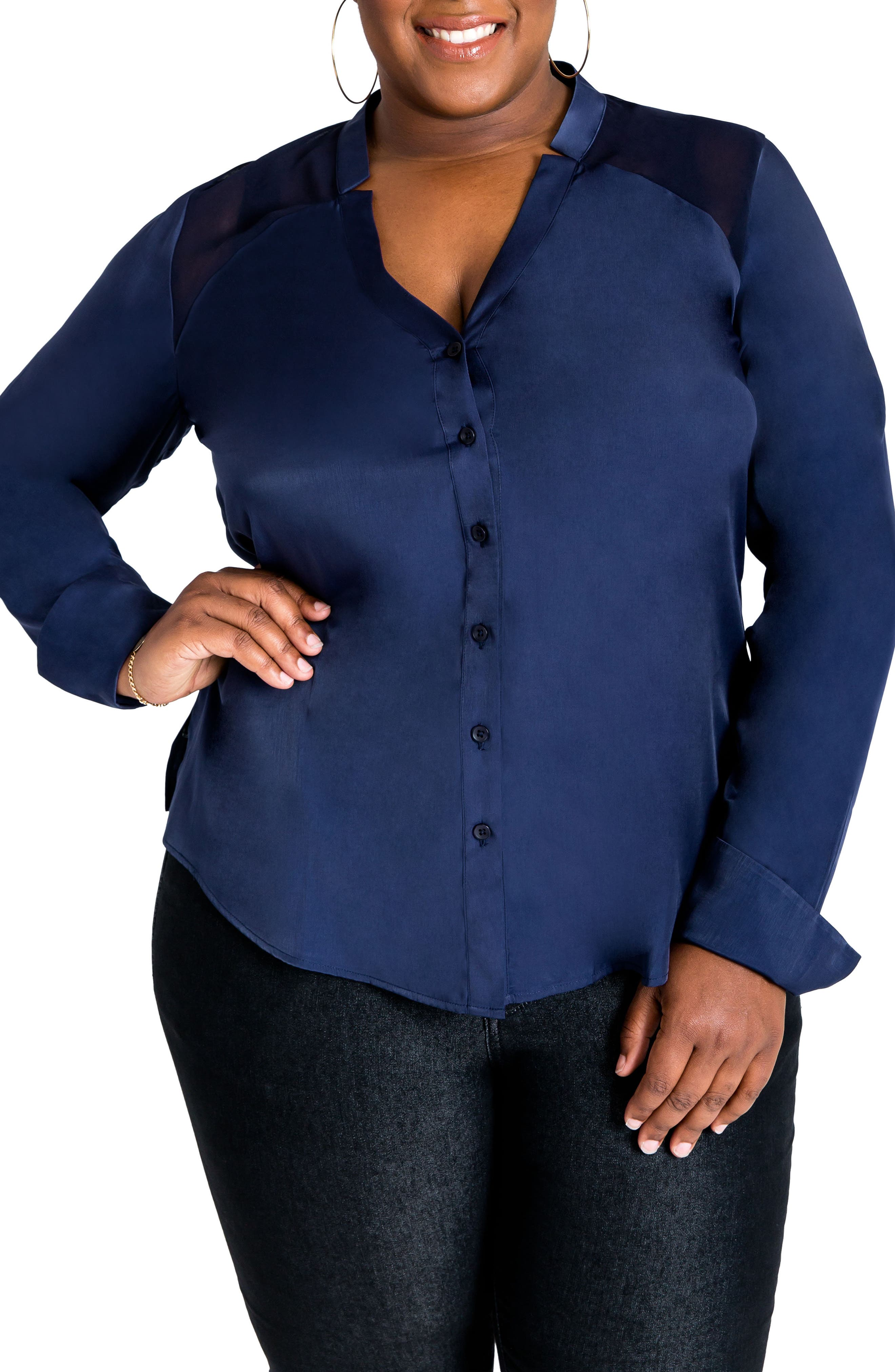 Main Image - Poetic Justice Jordyn Henley Blouse (Plus Size)