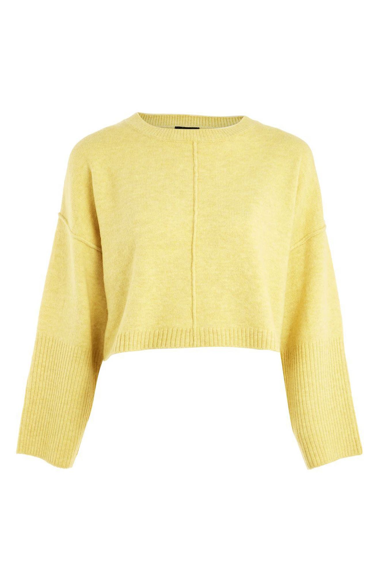 Wide Sleeve Crop Sweater,                             Alternate thumbnail 5, color,                             Yellow
