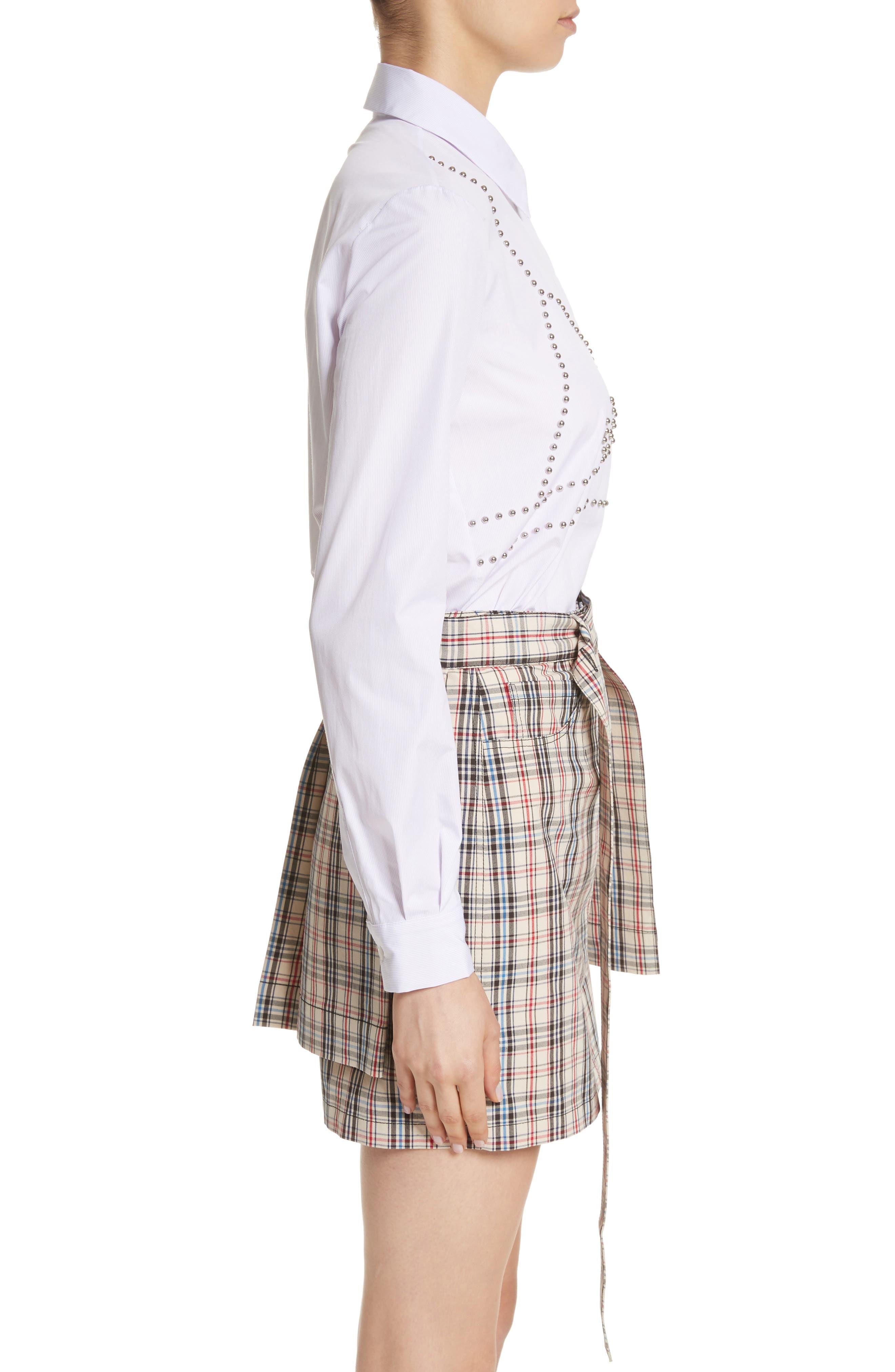 Classic Studded Bra Shirt,                             Alternate thumbnail 3, color,                             Lilac/ White