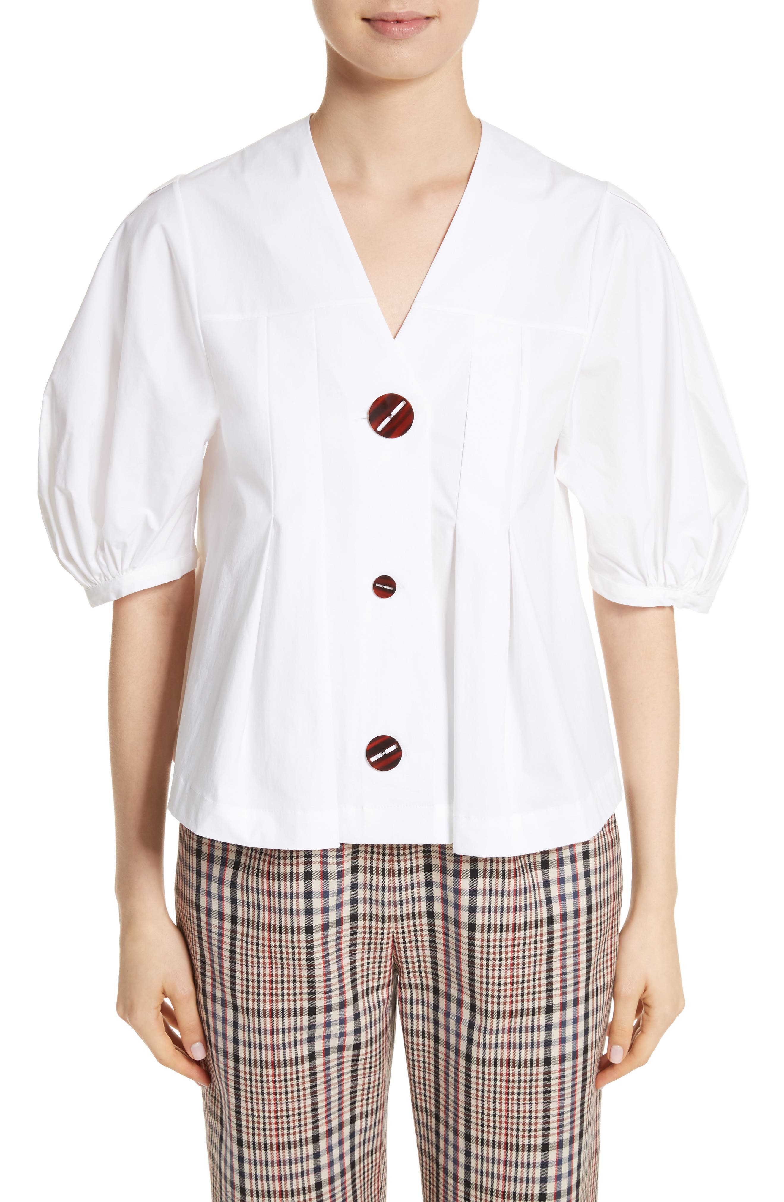 Puff Sleeve Button Front Top,                         Main,                         color, White
