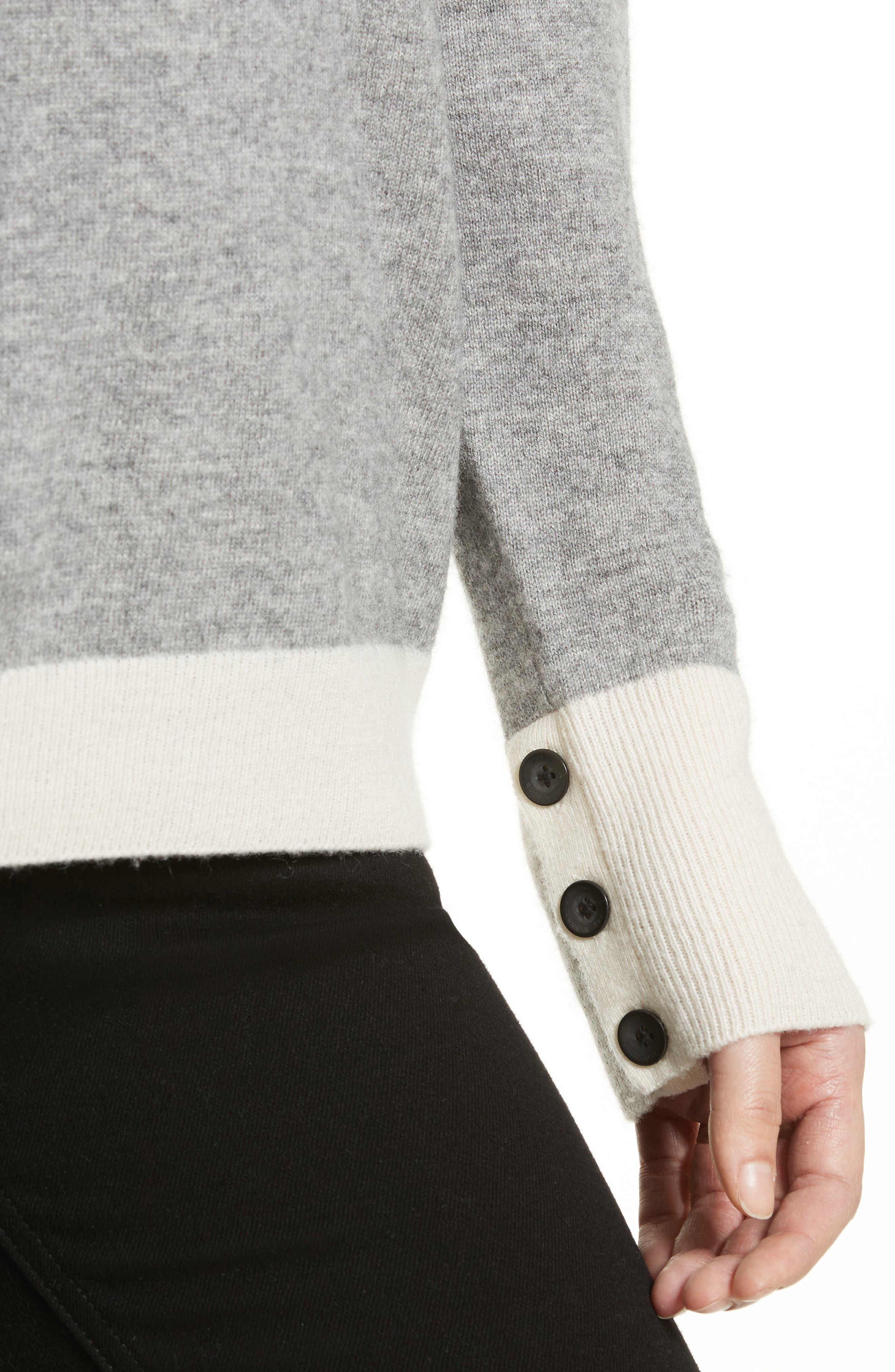 Rhea Wool & Cashmere Turtleneck Sweater,                             Alternate thumbnail 4, color,                             Grey Heather