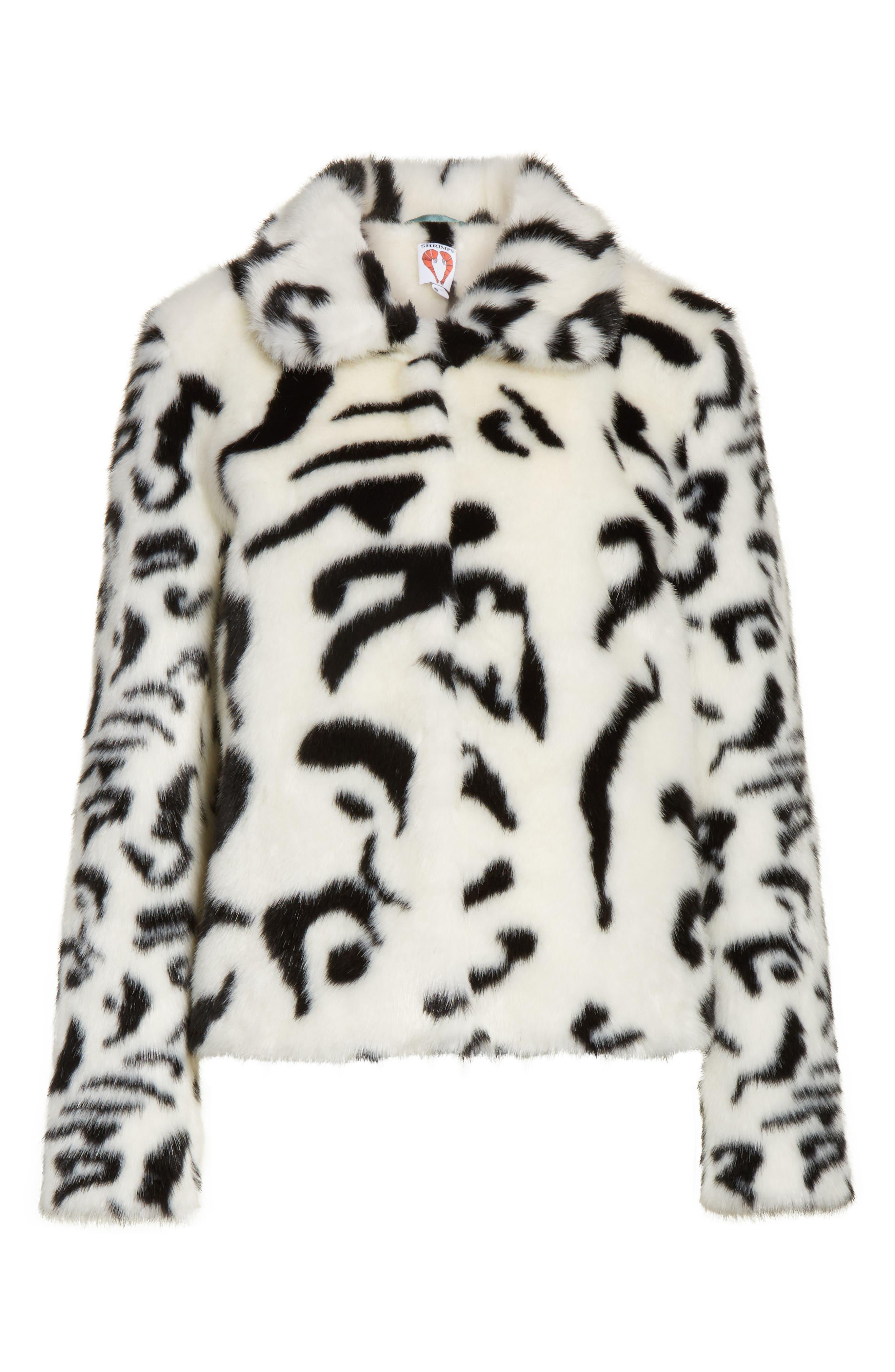 Junior Faux Fur Jacket,                             Alternate thumbnail 7, color,                             White/ Black