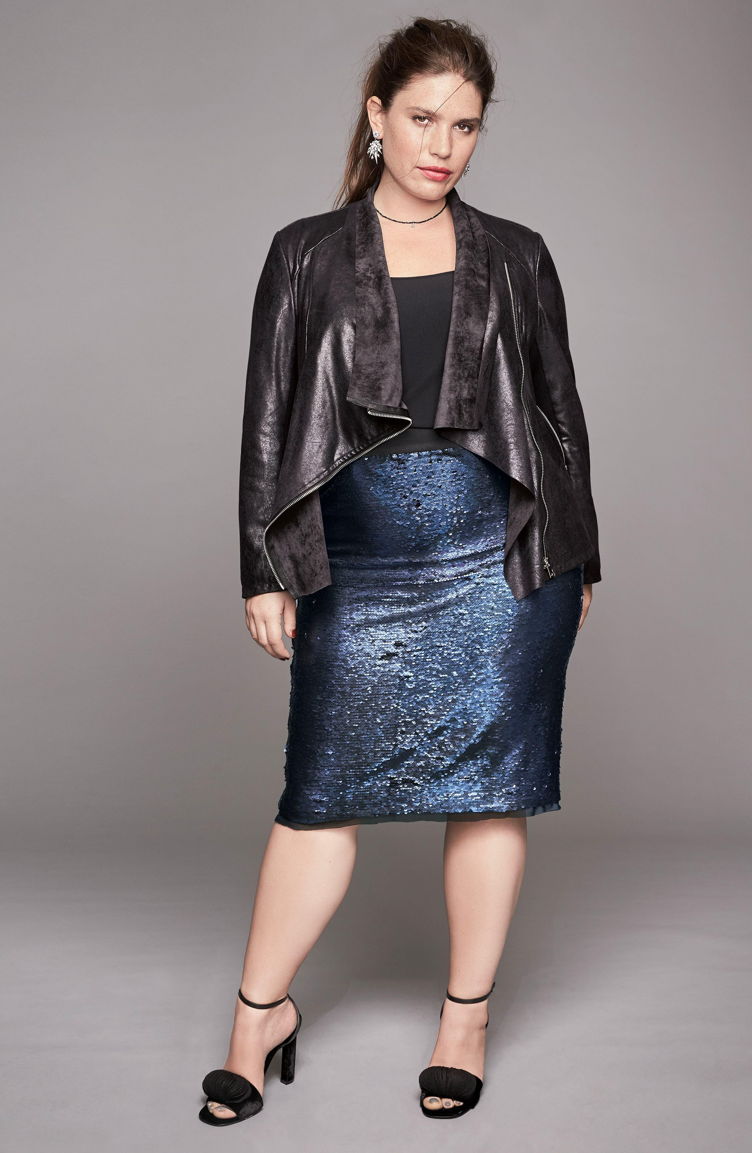 Alternate Image 7  - Rebel Wilson x Angels Sequin Mesh Pencil Skirt (Plus Size)