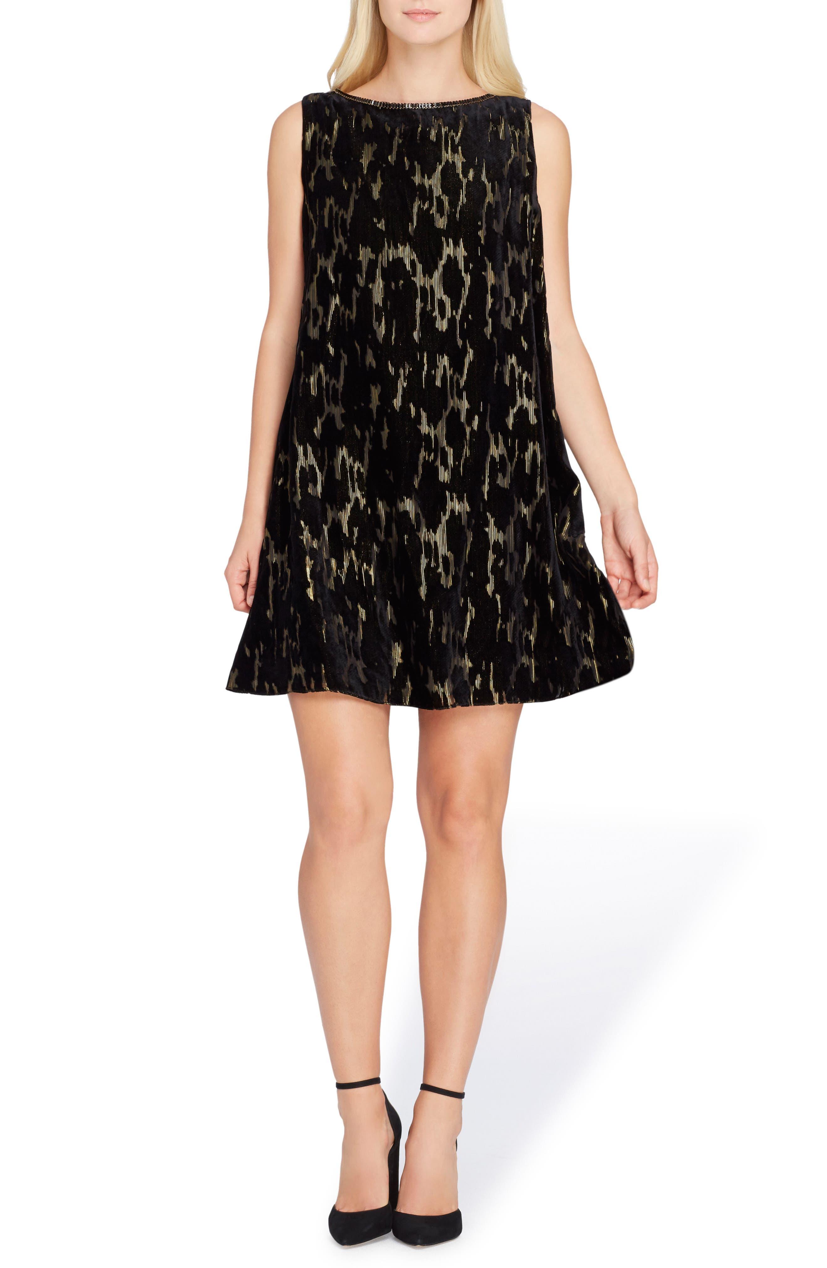Main Image - Tahari Burnout Velvet Dress