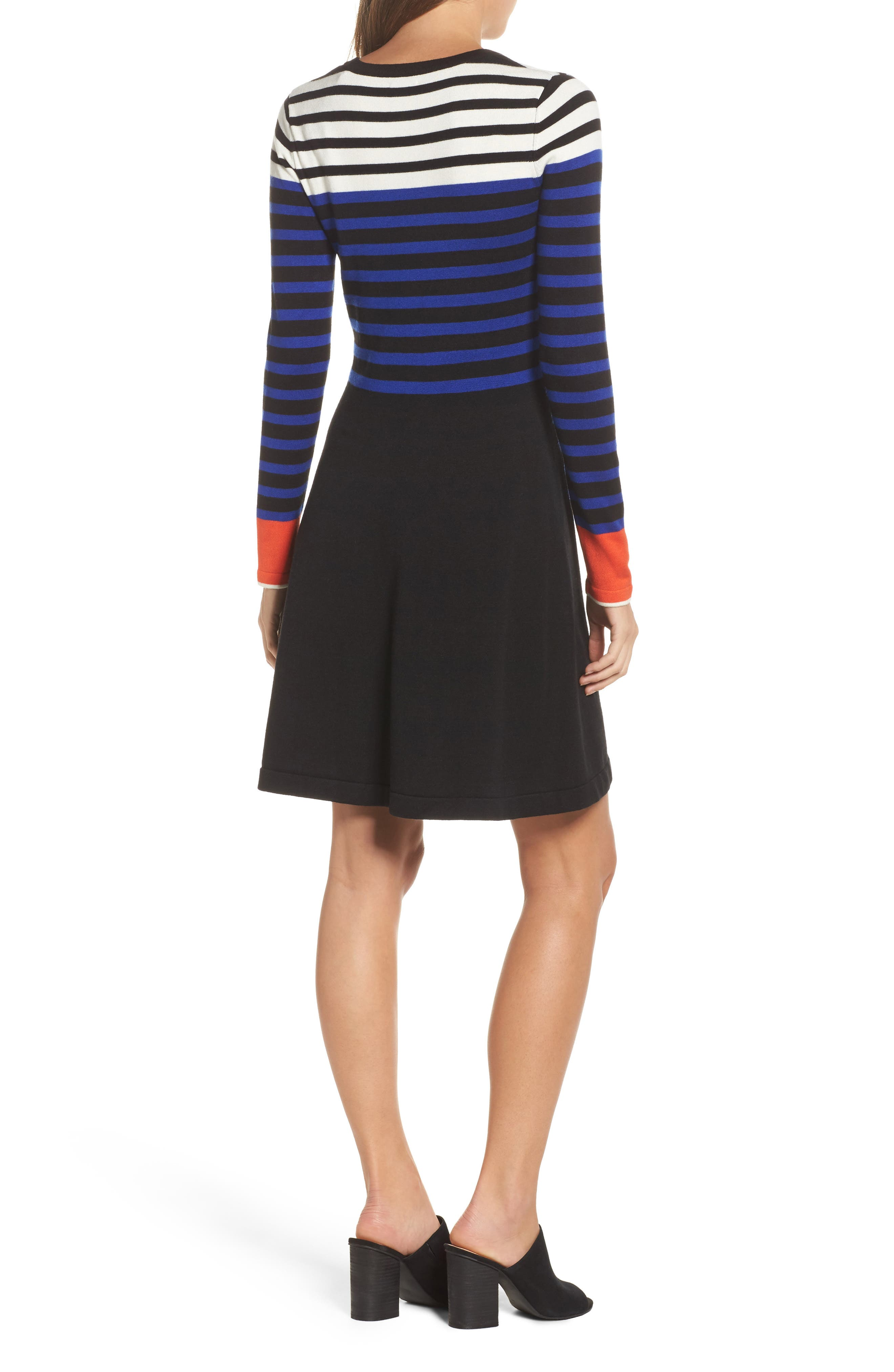 Stripe Sweater Fit & Flare Dress,                             Alternate thumbnail 2, color,                             Black