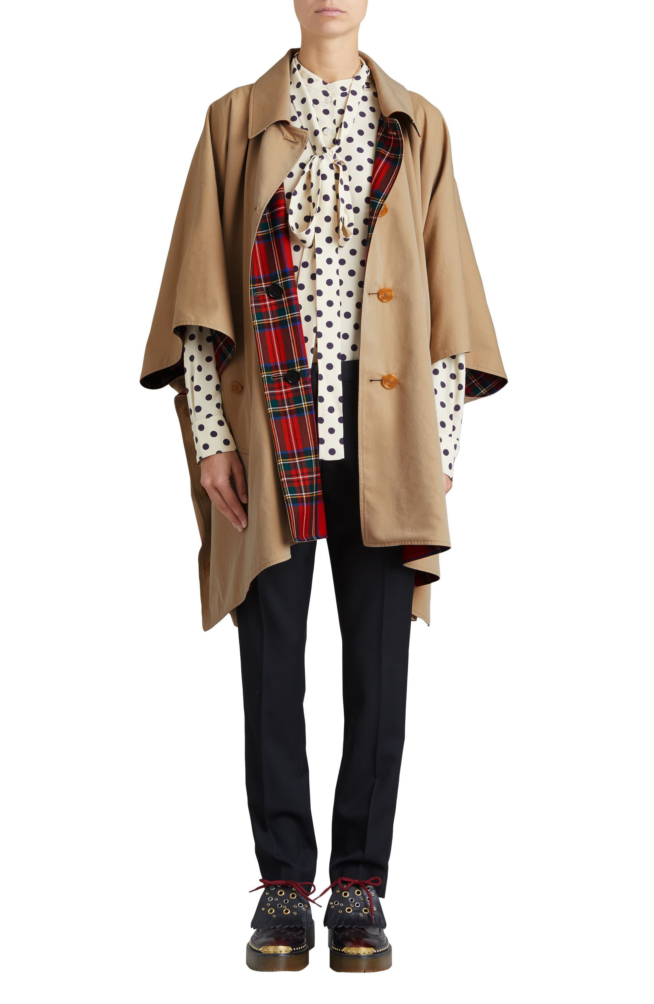 Alternate Image 1 Selected - Burberry Greymere Tartan Lined Gabardine Cape