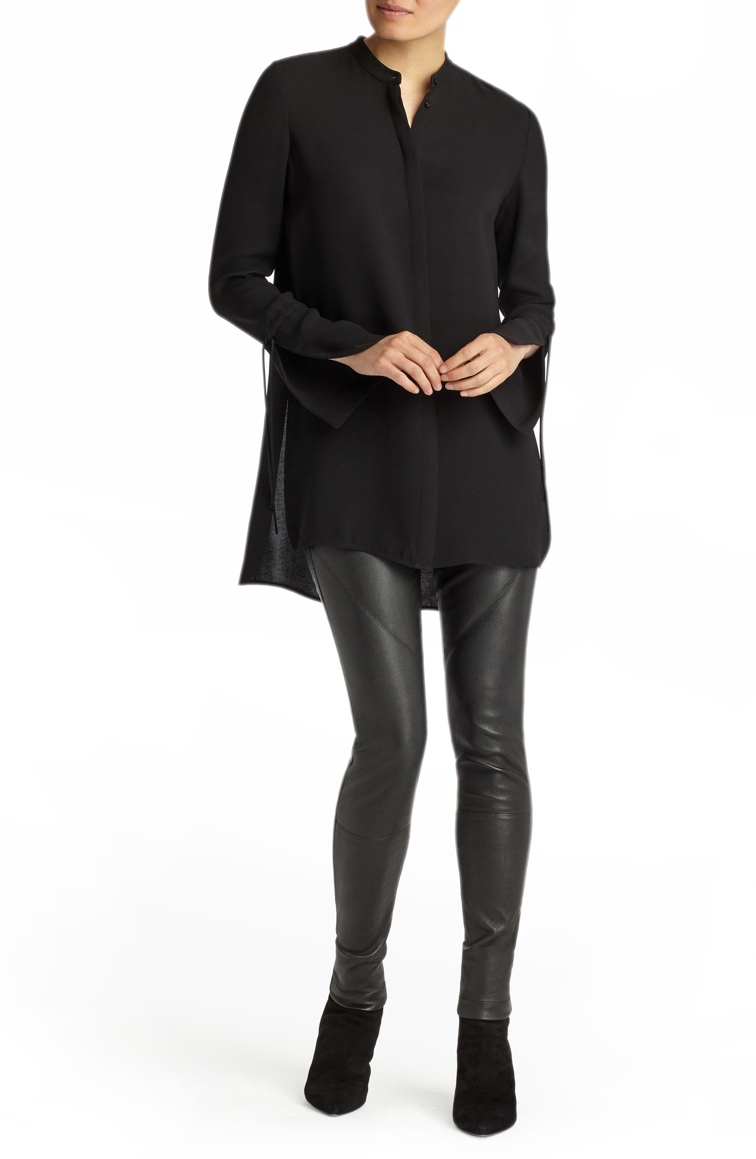Desra Silk Blouse,                             Alternate thumbnail 5, color,                             Black