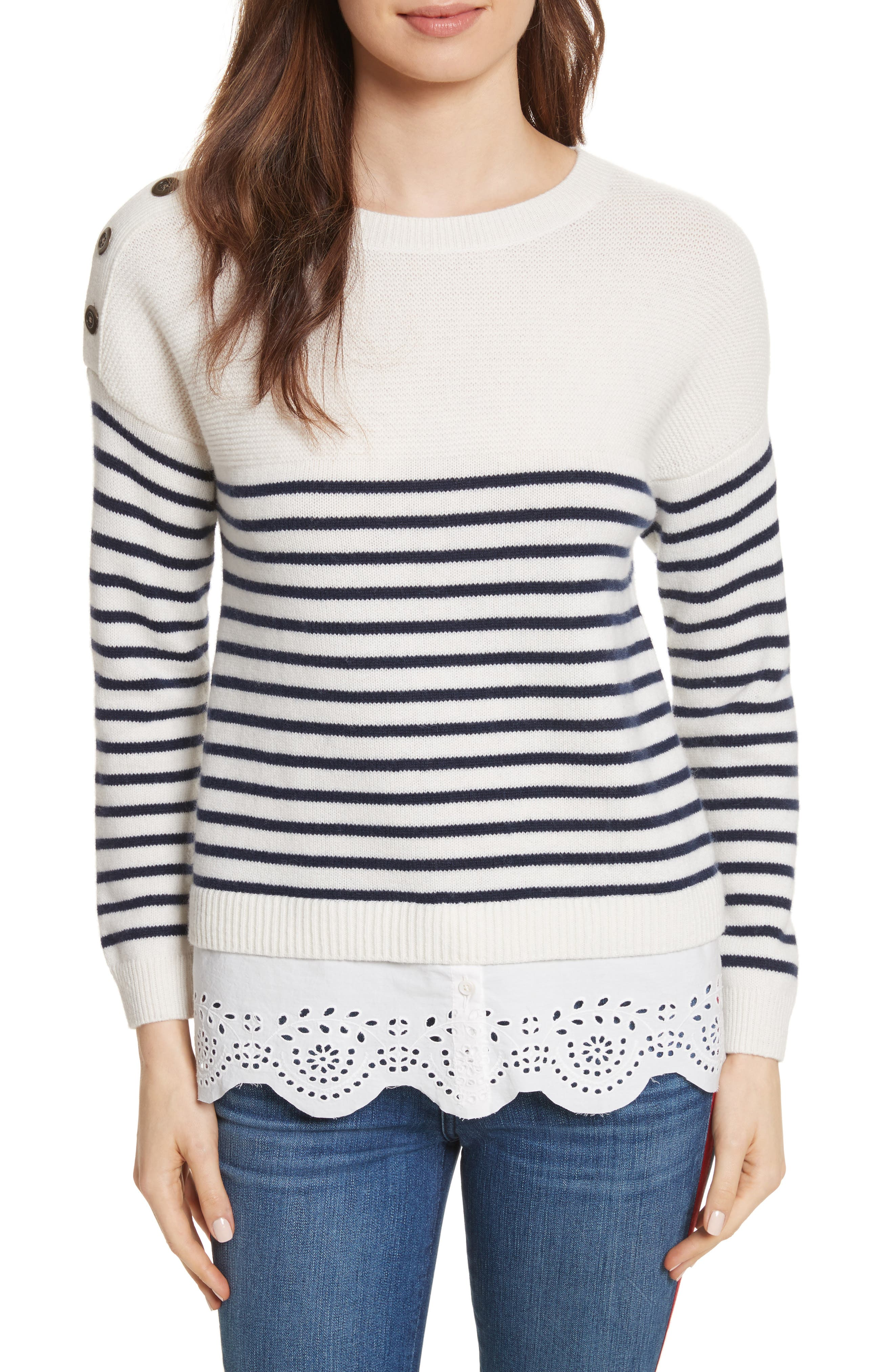 Aefre Woven Trim Wool & Cashmere Sweater,                         Main,                         color, Porcelain/ Midnight