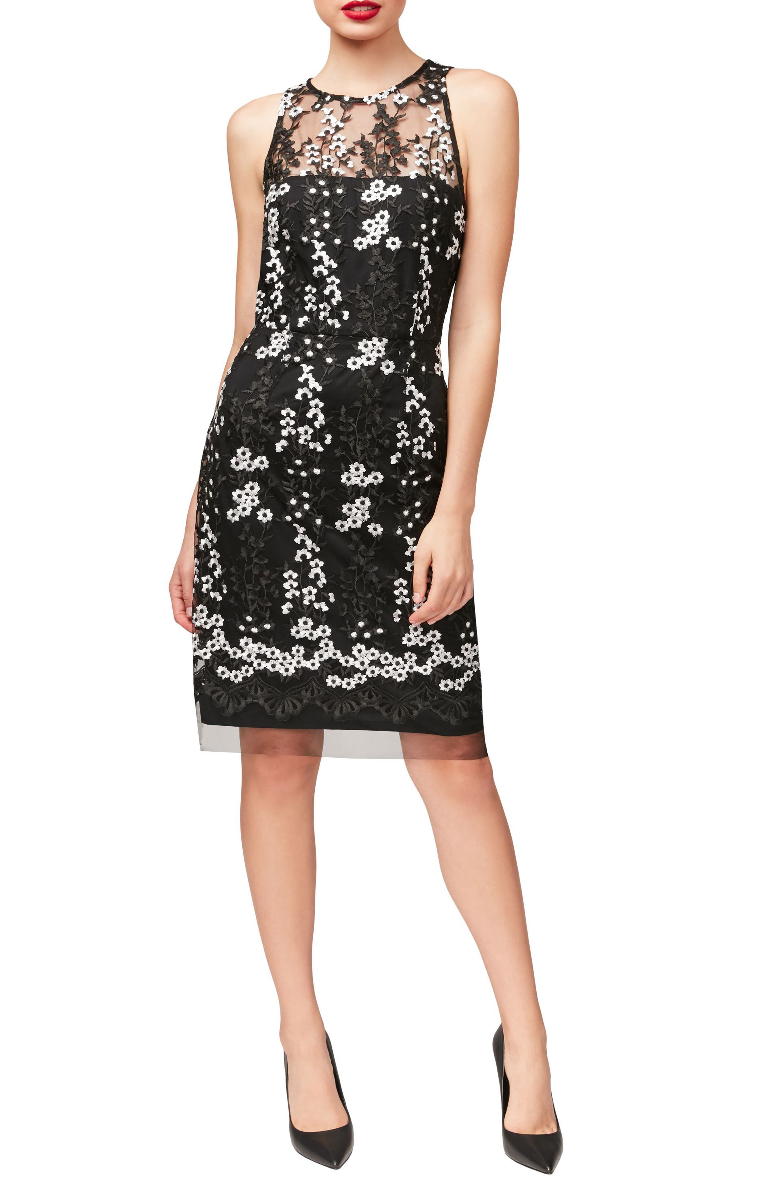 Alternate Image 1 Selected - Betsey Johnson Floral Lace Sheath Dress