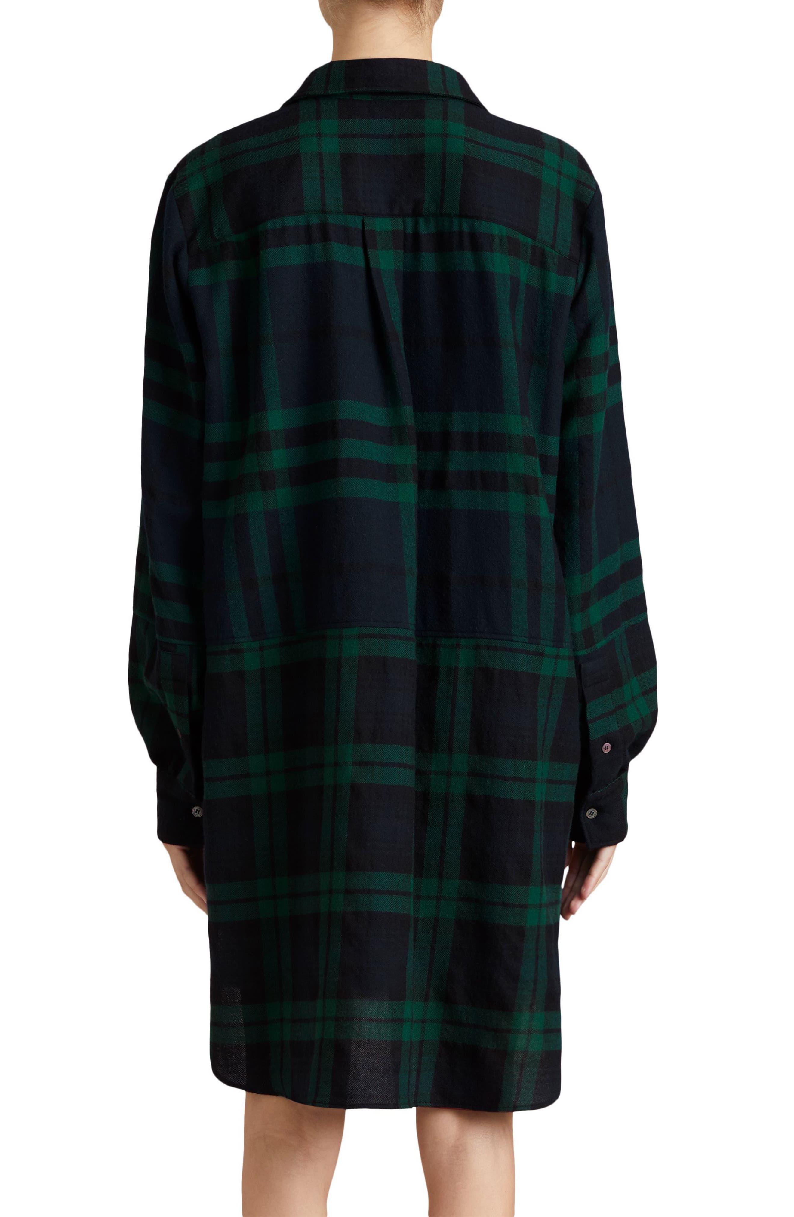 Kylie Check Wool Shirtdress,                             Alternate thumbnail 2, color,                             Navy